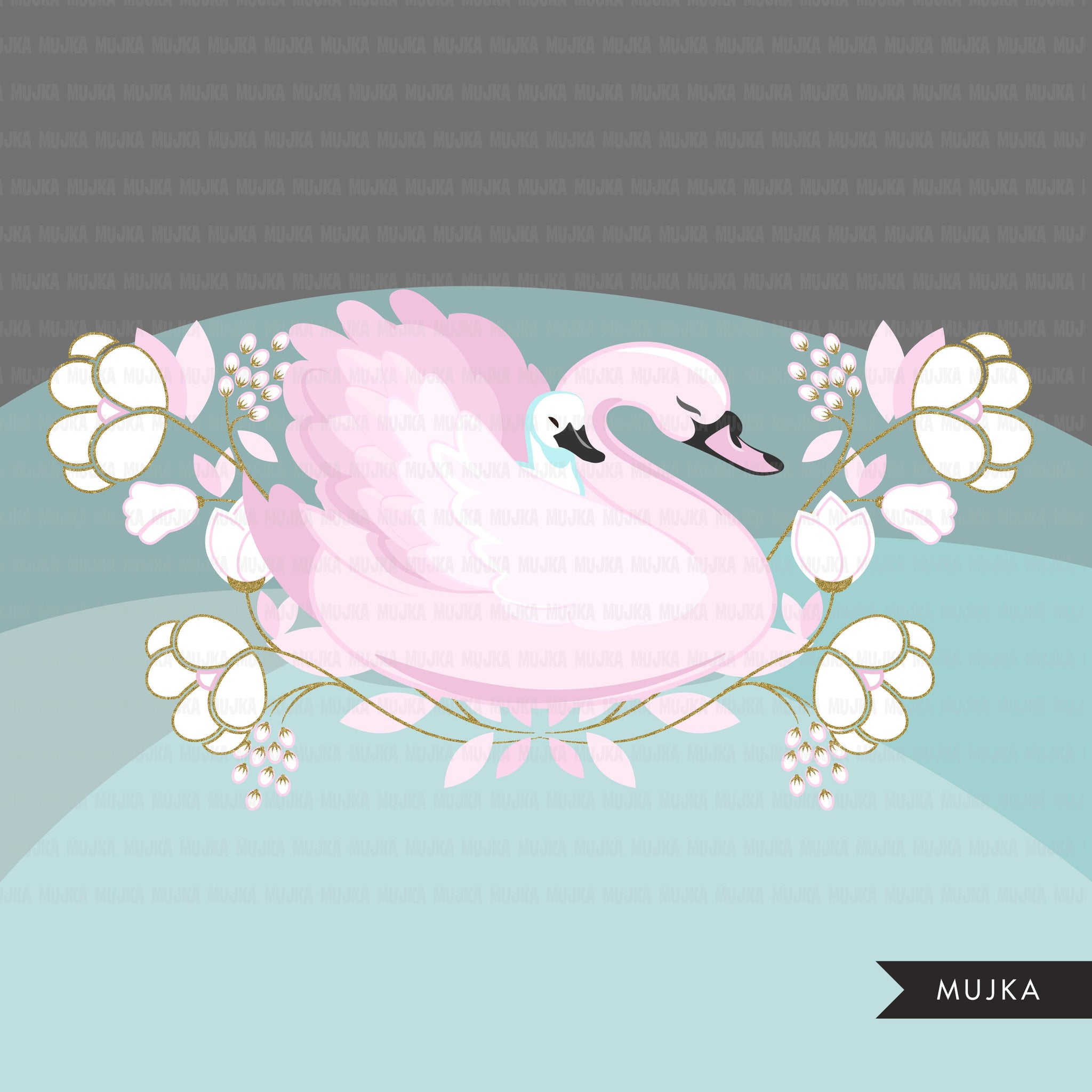 Pink Swan - animal clipart