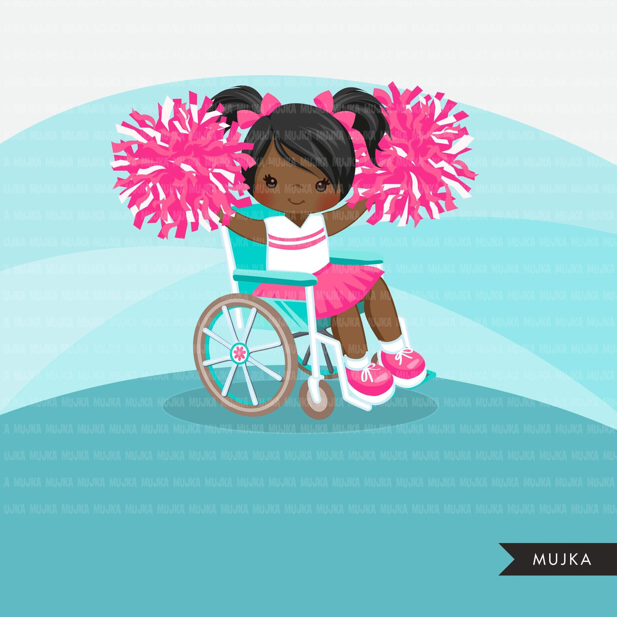 Special Needs Wheelchair Cheerleader girl clipart