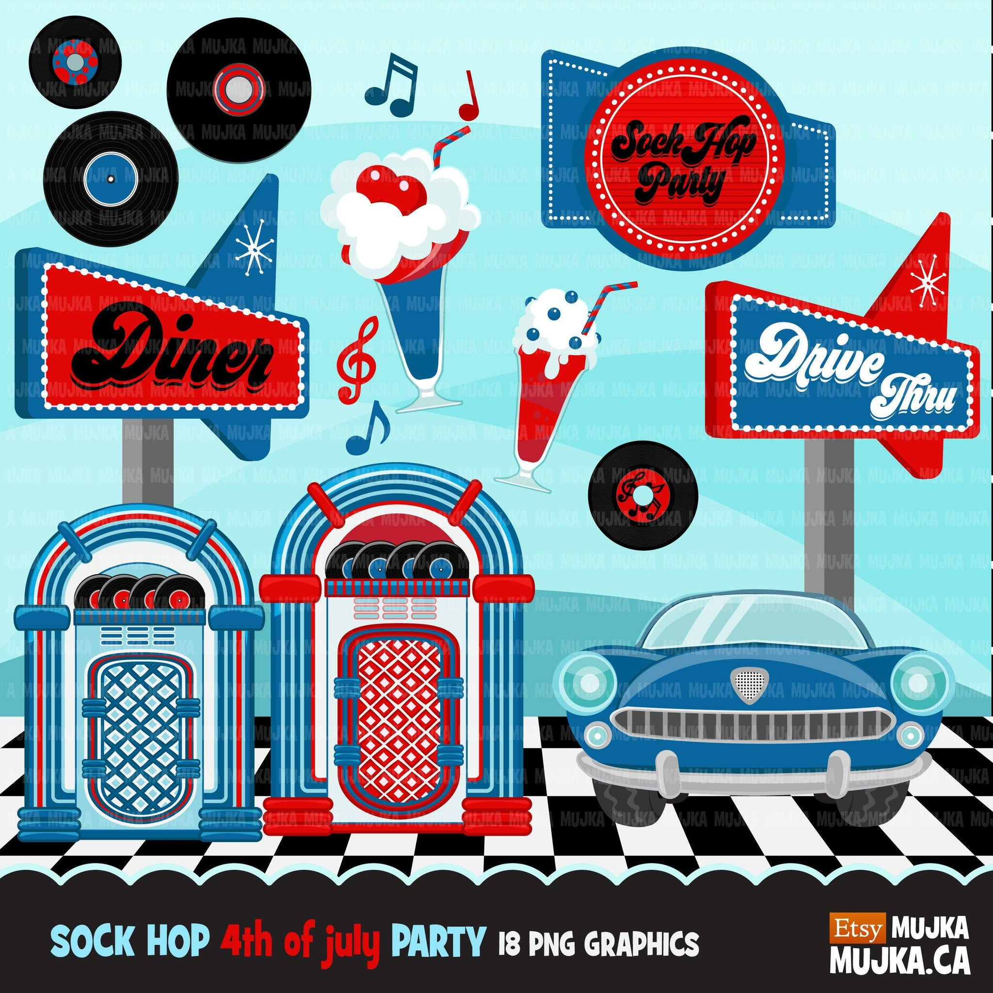 4th of July Sock Hop Party Clipart, 50's retro diner graphics