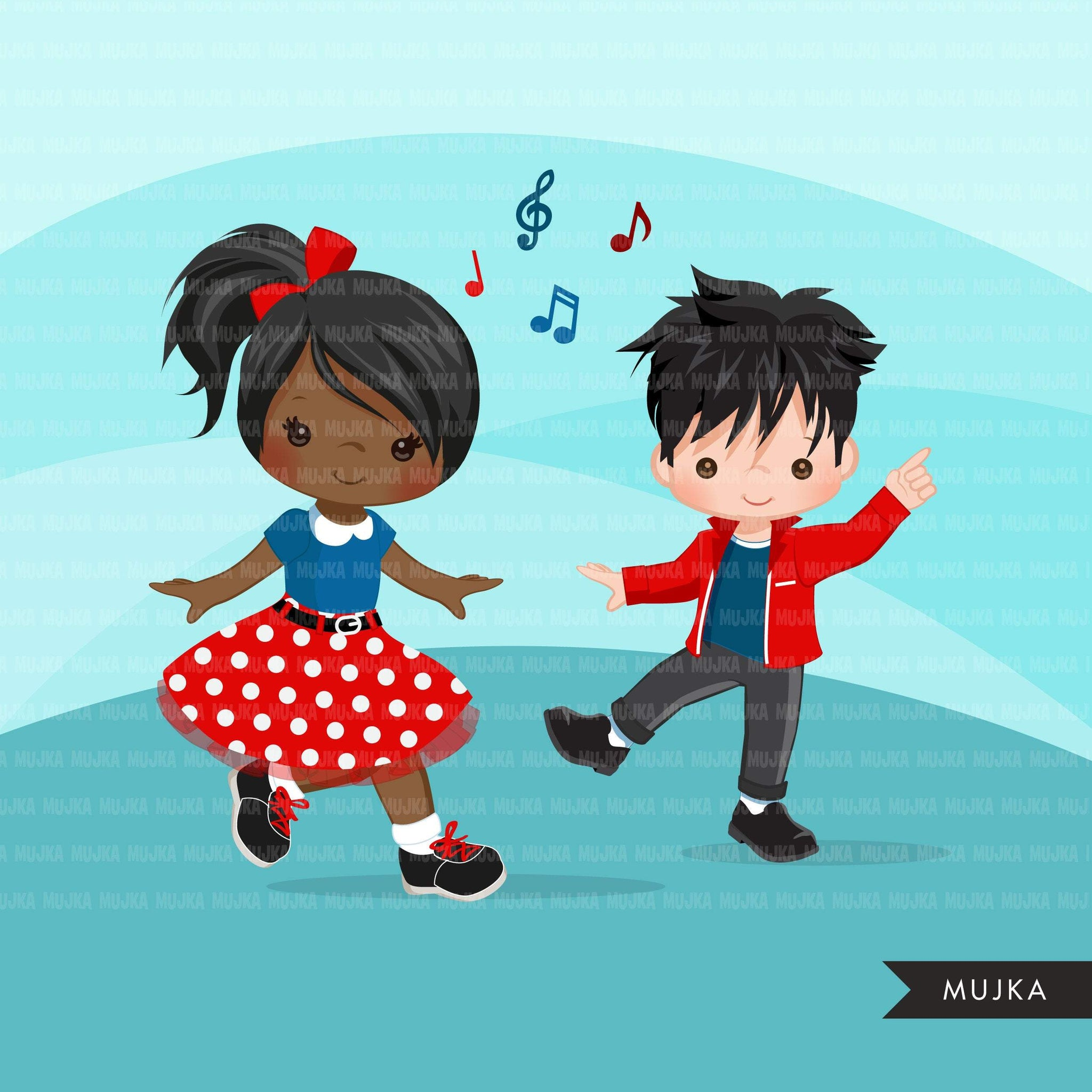 Sock Hop 4th of July Party Girls Clipart, 50's retro characters