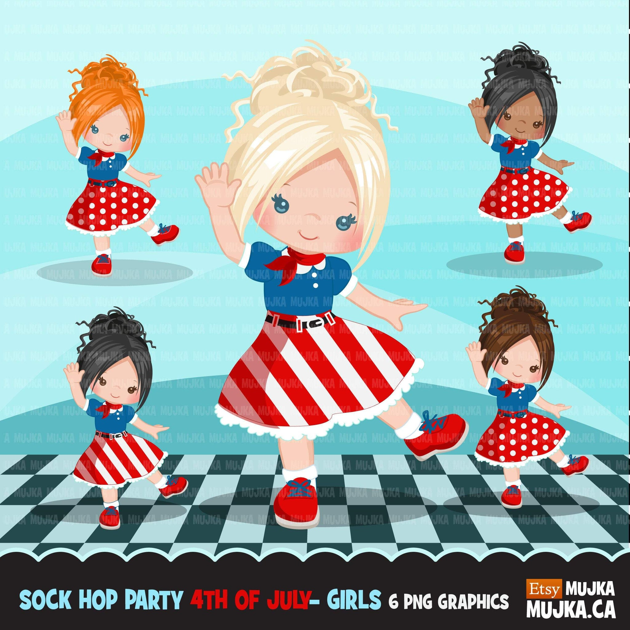 Sock Hop Party 4th of July Girls Clipart, 50's retro characters