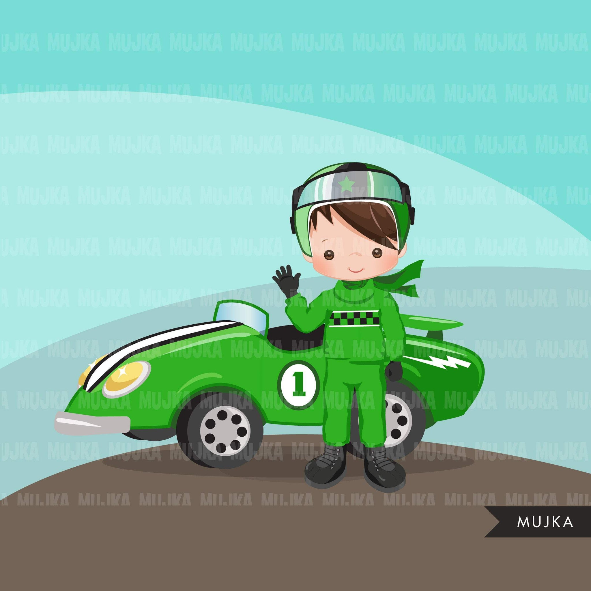 Car Racing Clipart for boys Formula 1 graphics, race flag, finish line