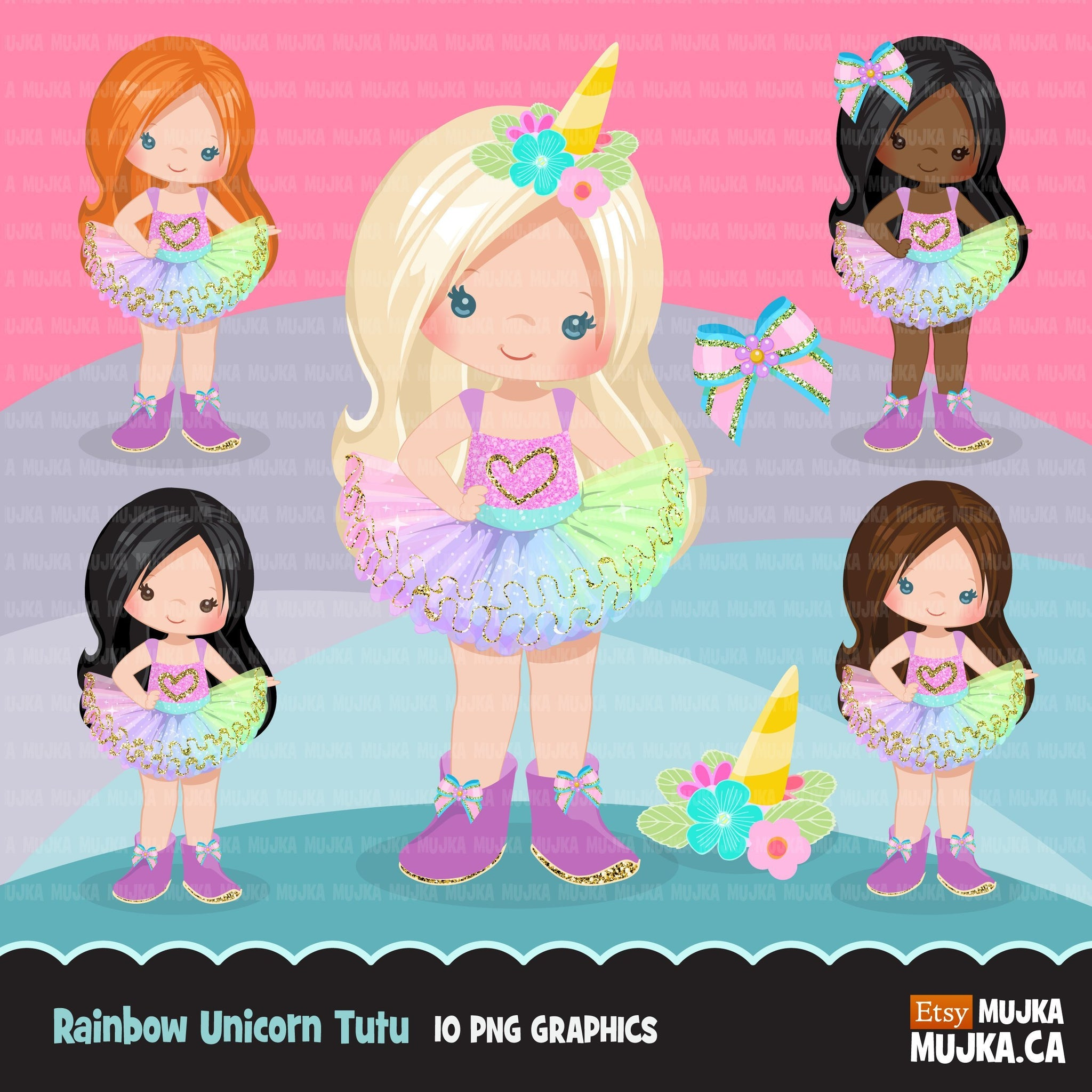 Rainbow Unicorn Tutu Clipart. Little Girl Outfit graphics.