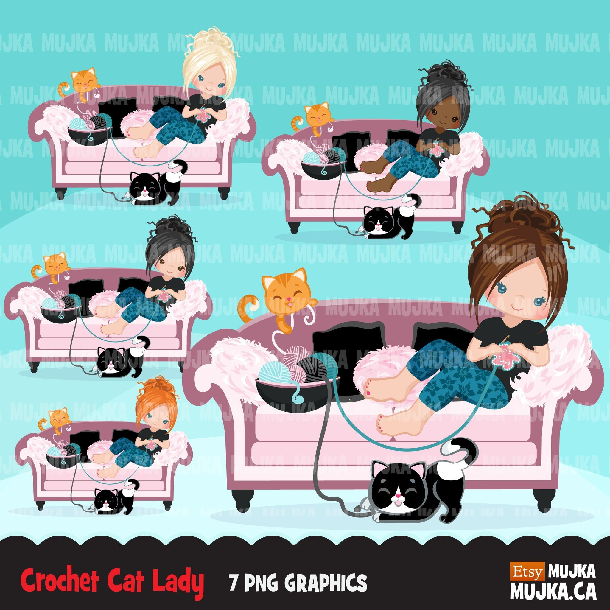 Crochet cat lady, Crafty character clipart graphics, animal, girl