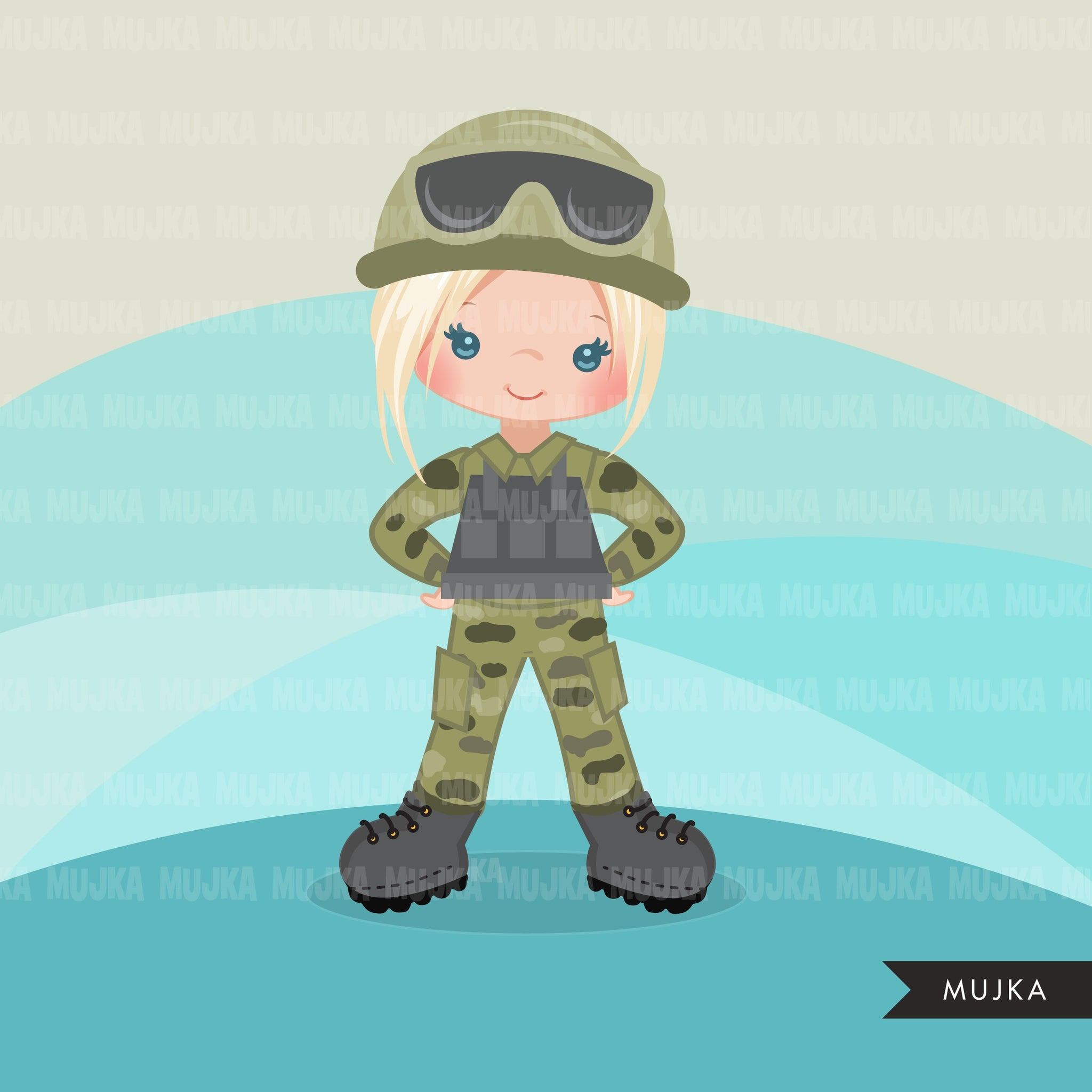 Female soldier Army clipart, Little soldier patriot  girl  graphics