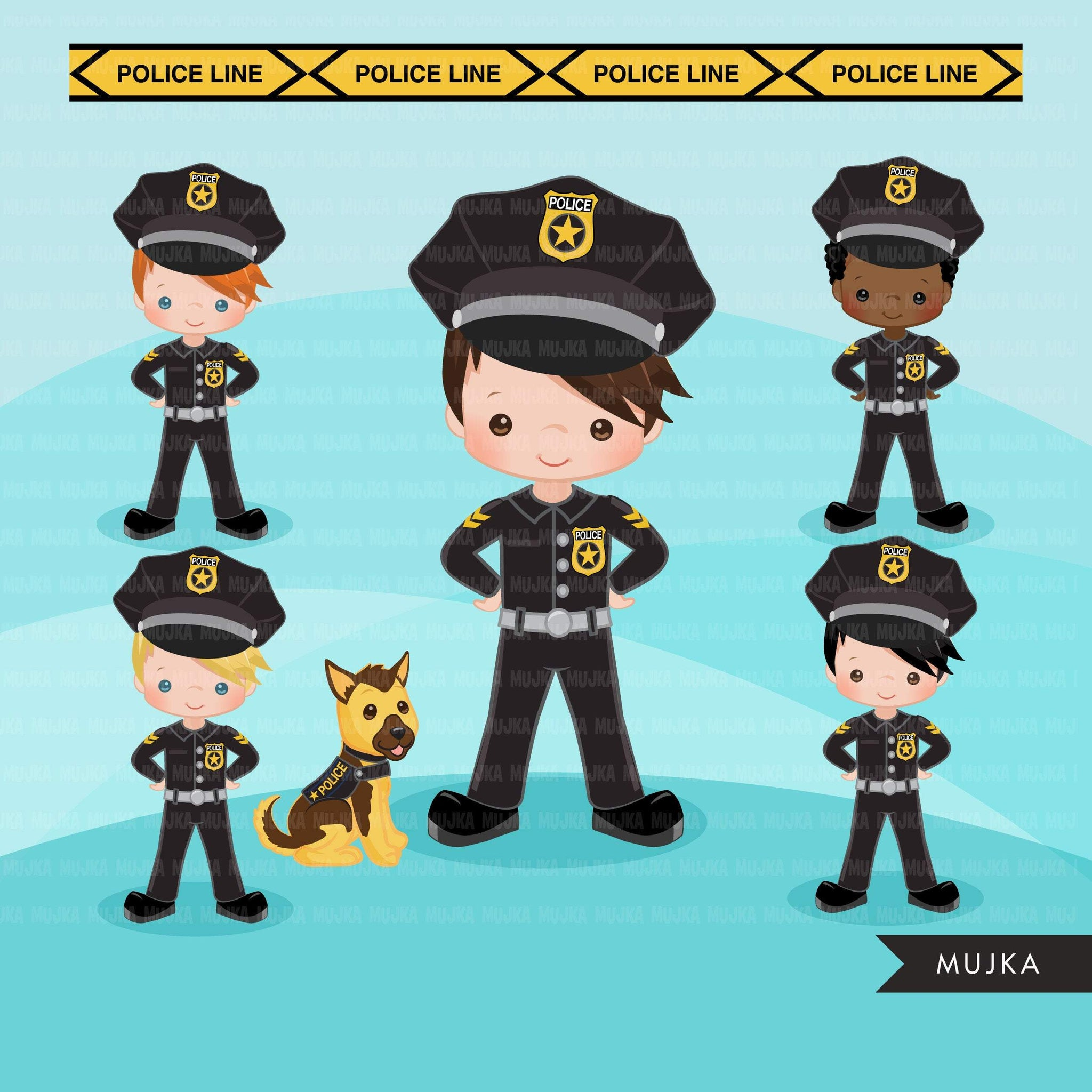 Cops, police officer clipart, boy girl , police car, K9 police dog graphics