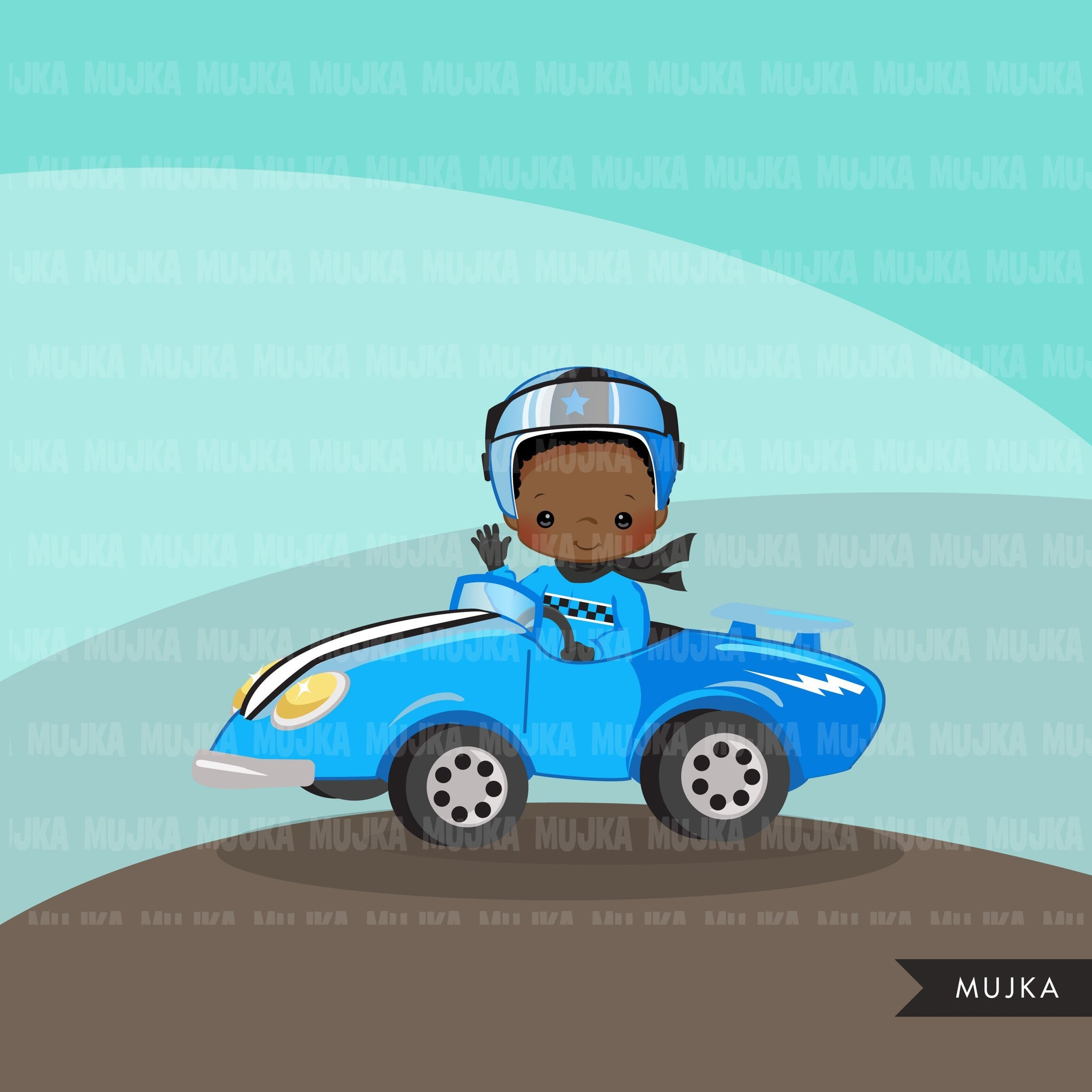 Car Racing Clipart. Boys Blue Car Racing Formula 1 graphics