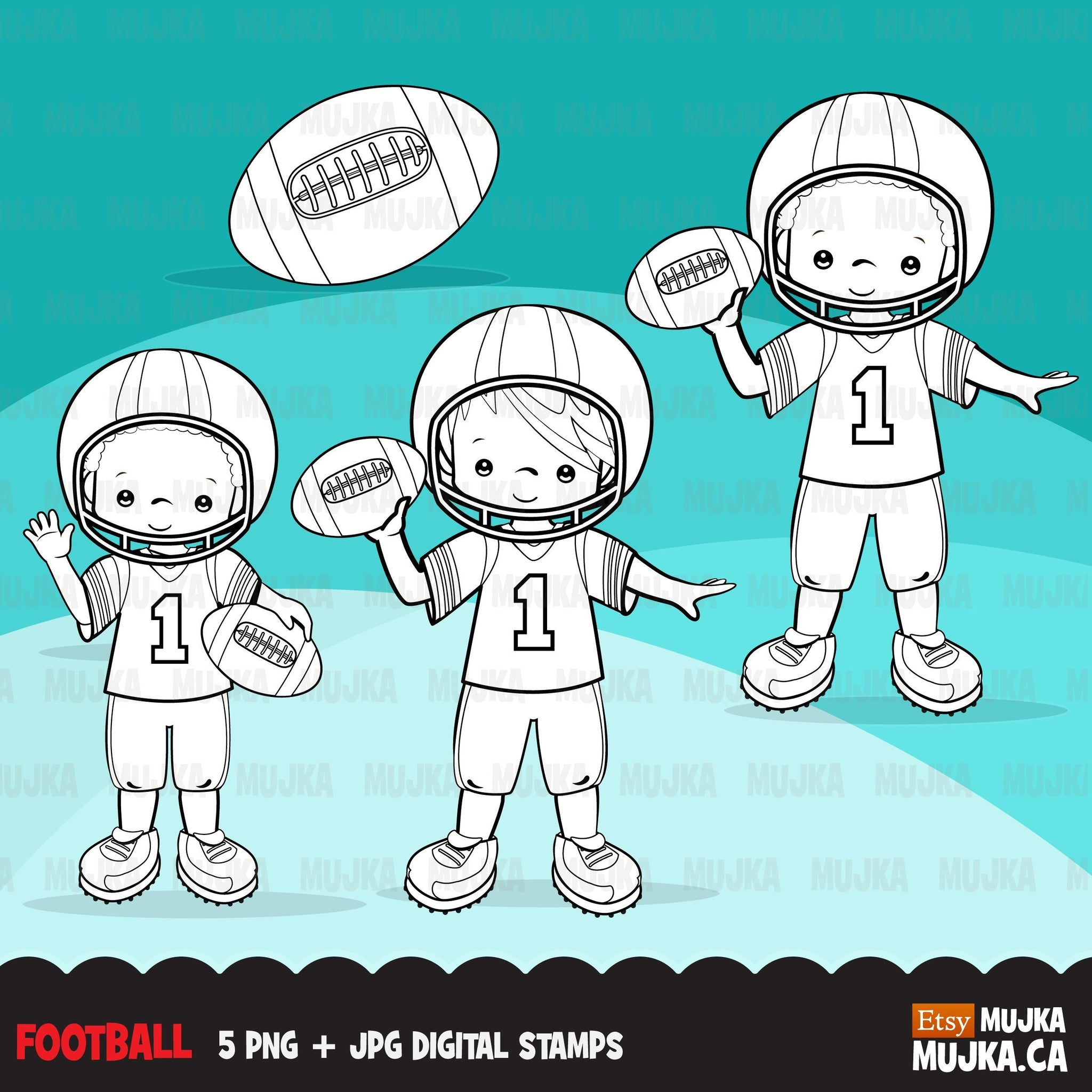Football players Digital Stamps. Sports Graphics