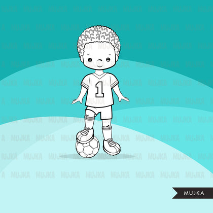 Soccer players Digital Stamps. Sports Graphics