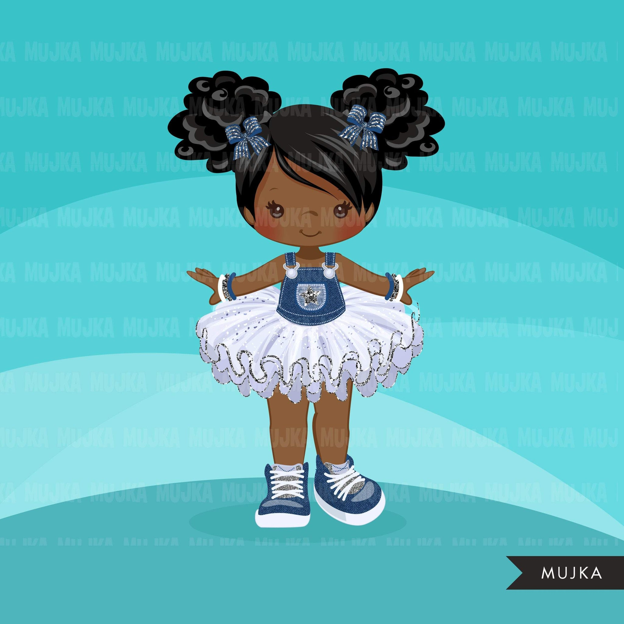Denim and Diamonds Tutu Clipart. Little girl summer outfits graphics. African American black girl