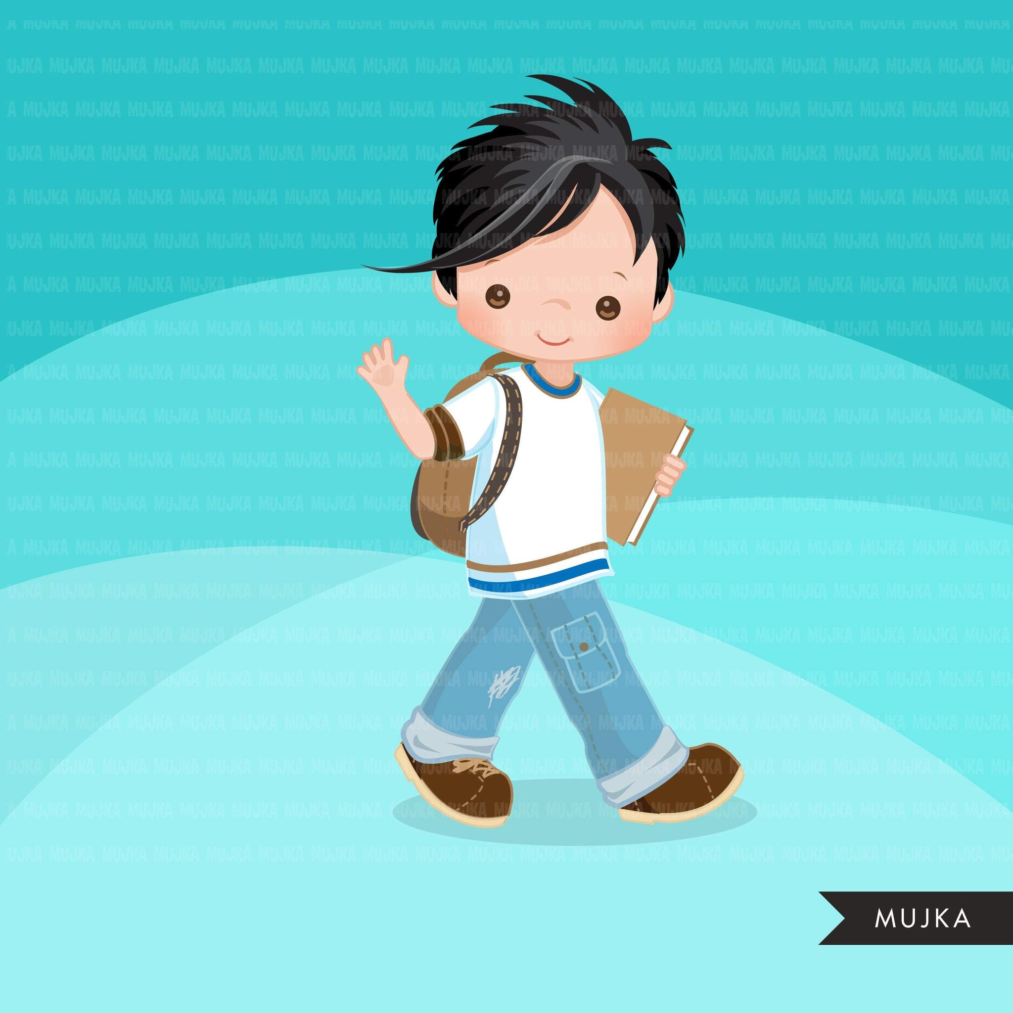 Causal Students clipart, Back to School boy character graphics
