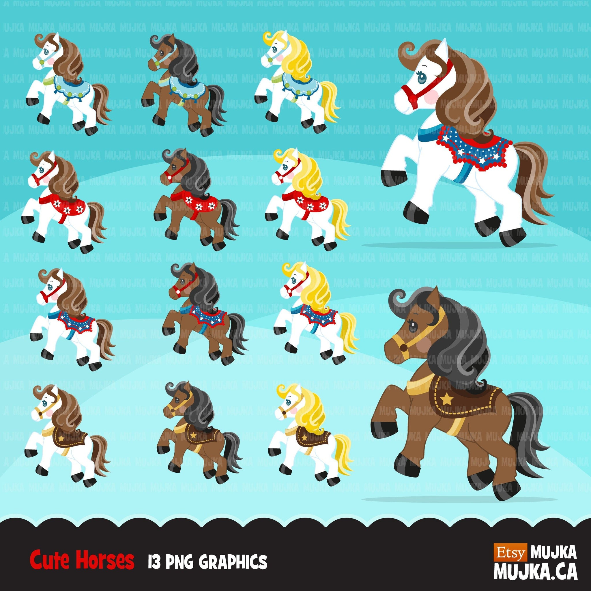 Horse Clipart, Cute farm horses with colorful saddles, animals