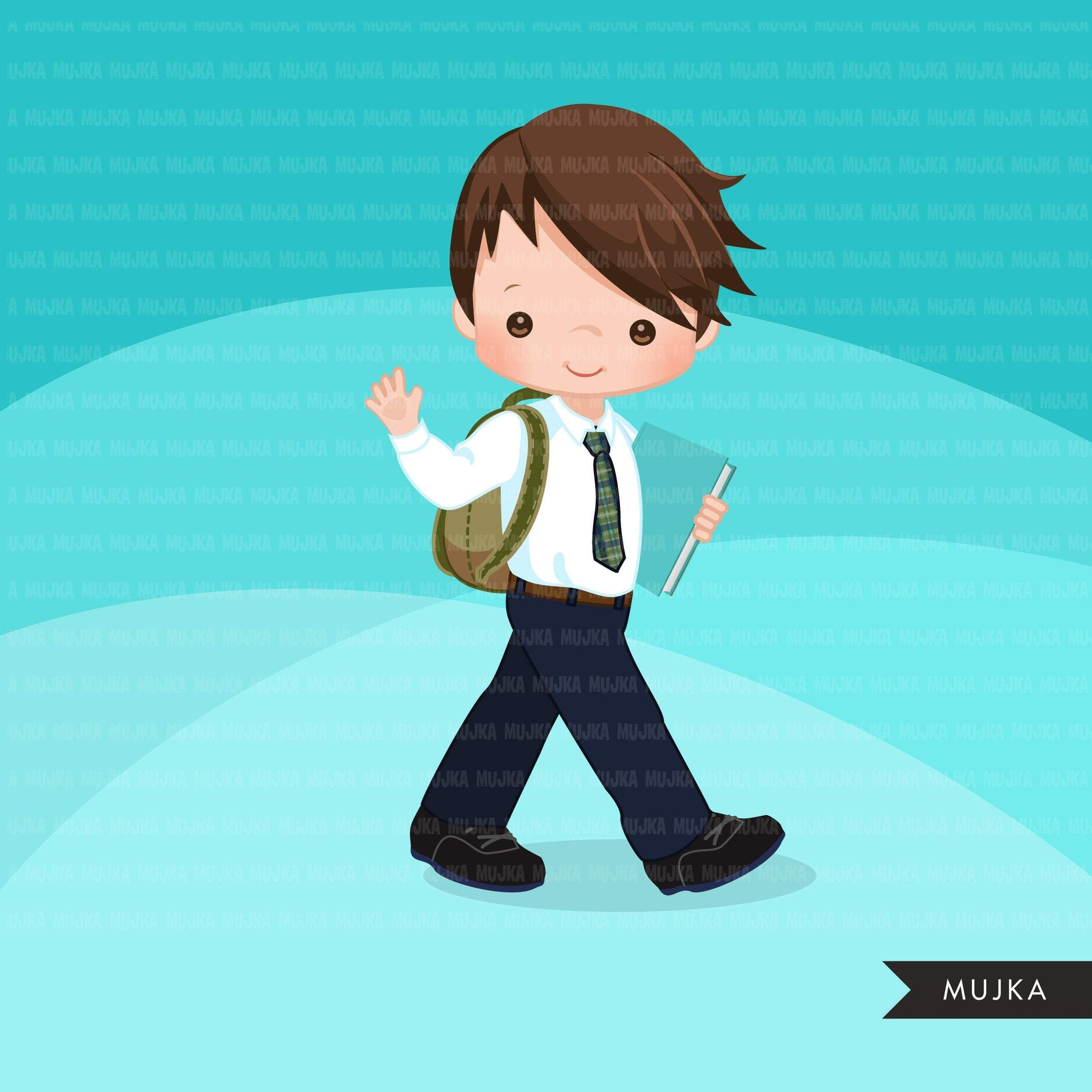 Formal Student clipart, Back to School boy character graphics clip art