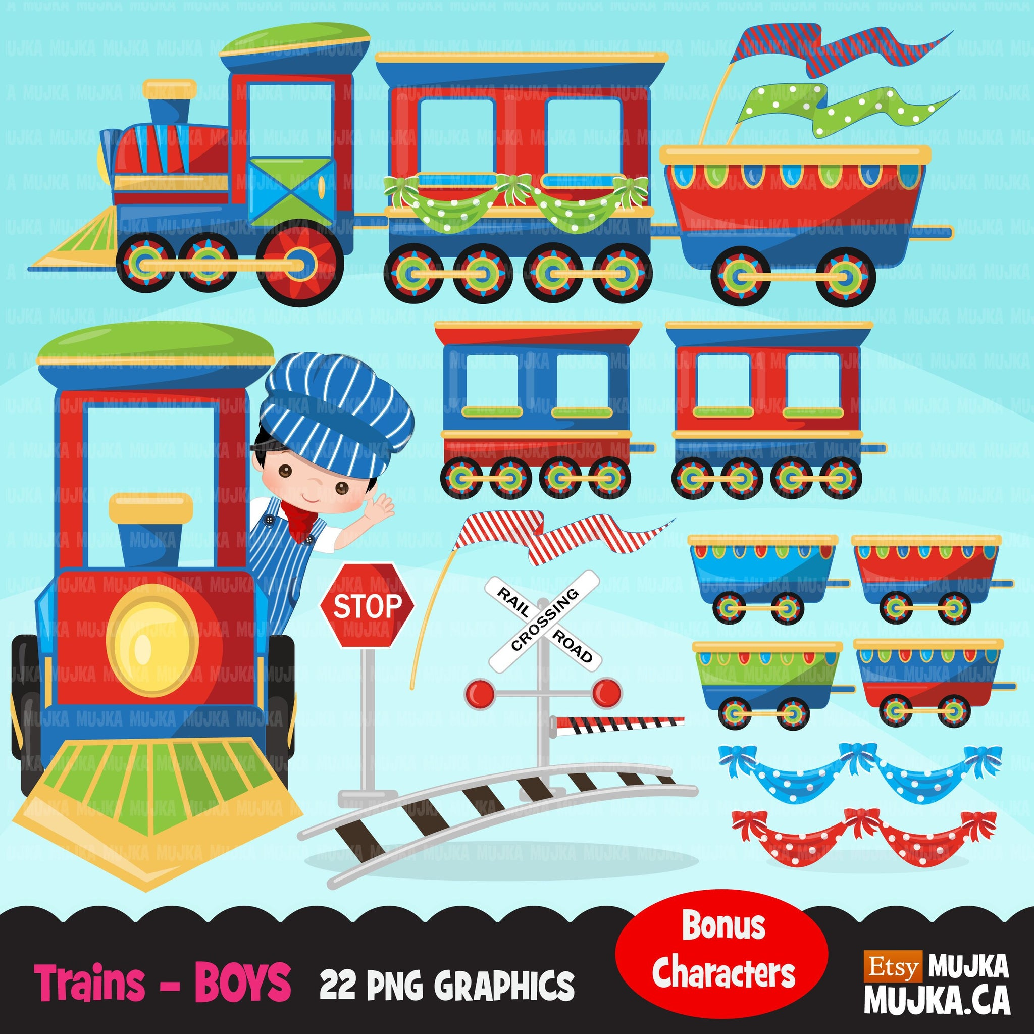 Train clipart, boys train graphics