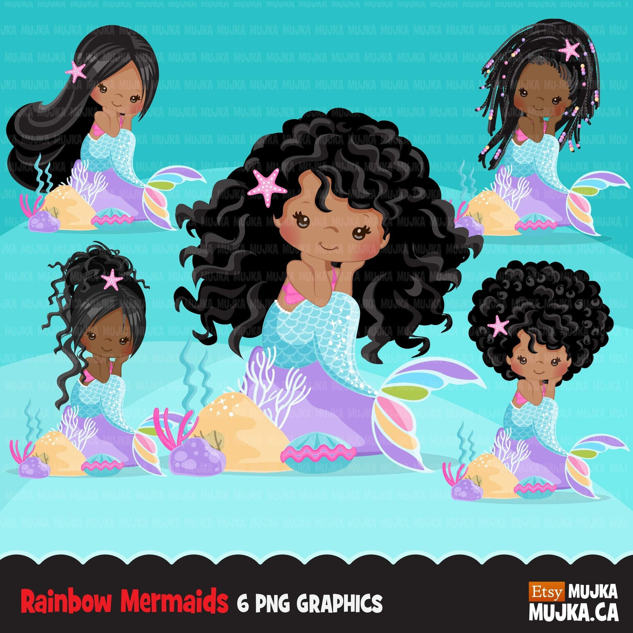 black Mermaid clipart, pastel mermaid graphics, card making, planner stickers, summer mermaid princess, birthday party, favors, toppers, girl clip art