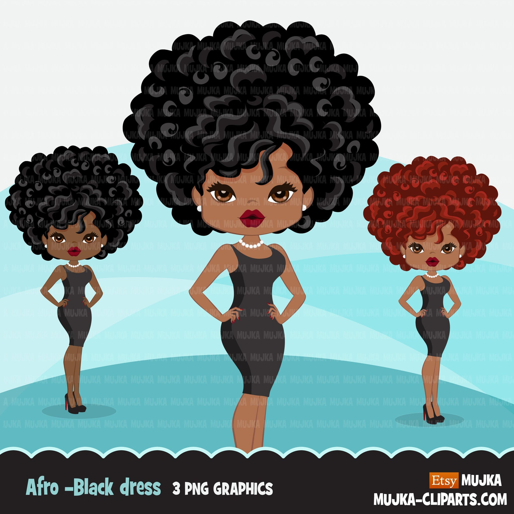 Afro black woman clipart with black mini dress African-American graphics, print and cut PNG T-Shirt Designs, Black Girls clip art