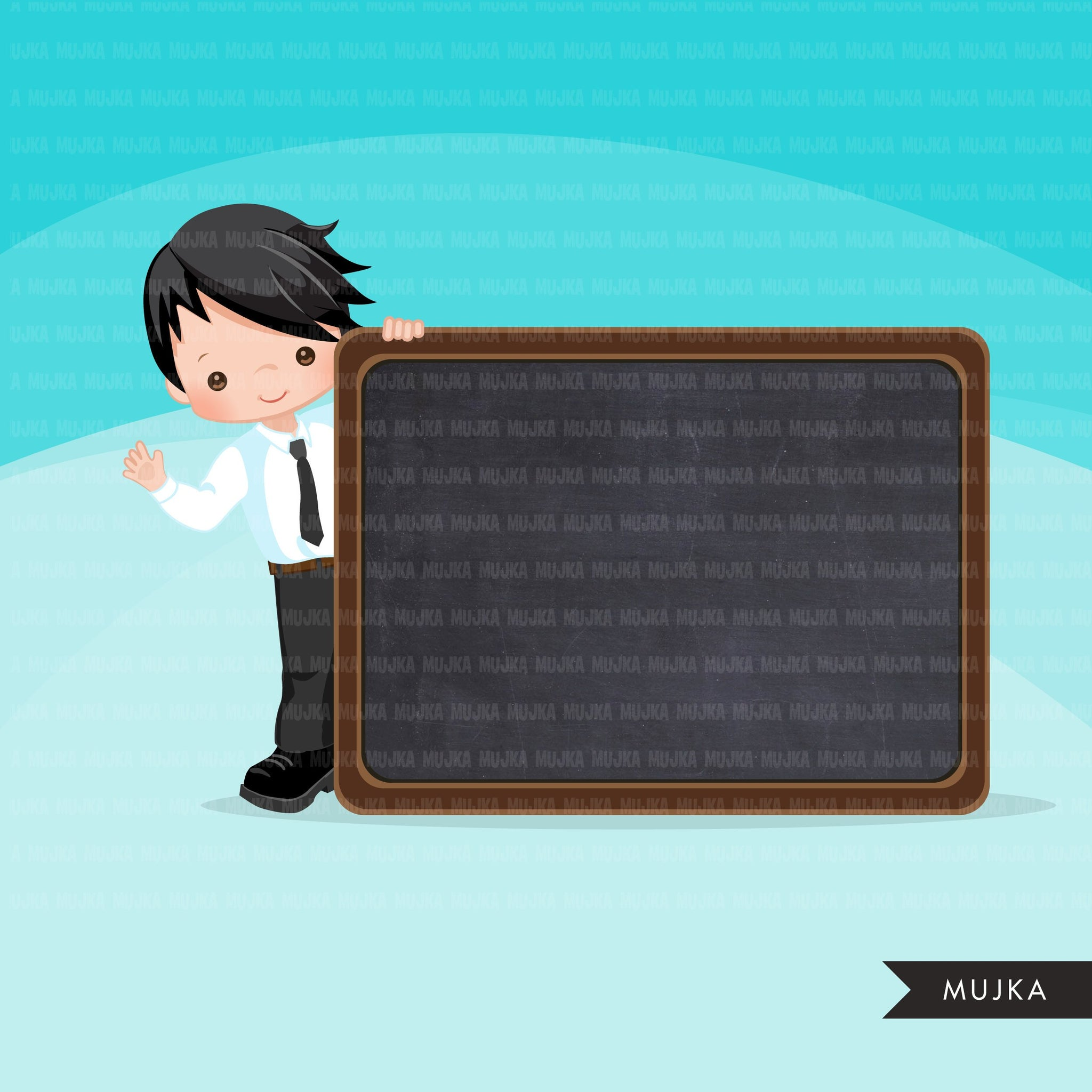 Back to school clipart with Boy students and black board, Education, teaching graphics