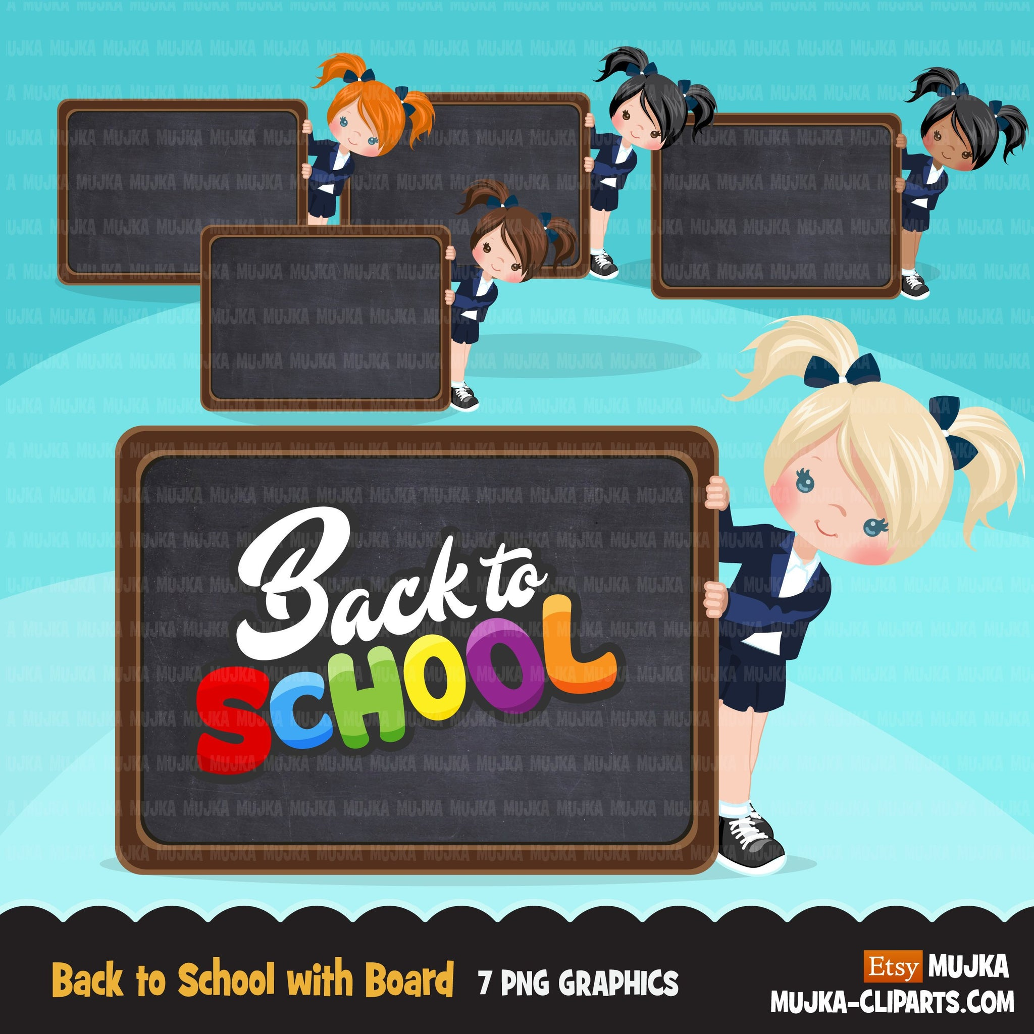 Back to school clipart with Girl students and black board, Education, teaching graphics