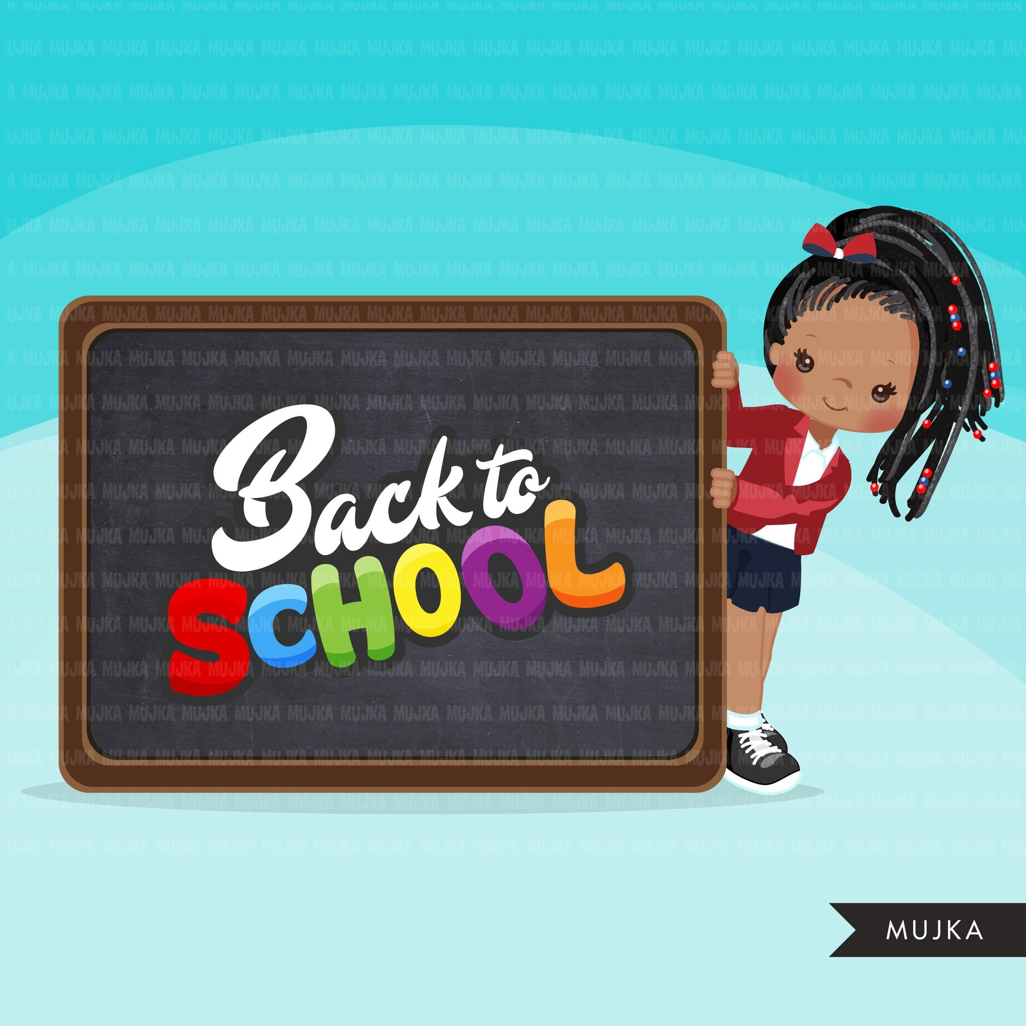 Back to school clipart with black Girl students black board, Education, teaching graphics