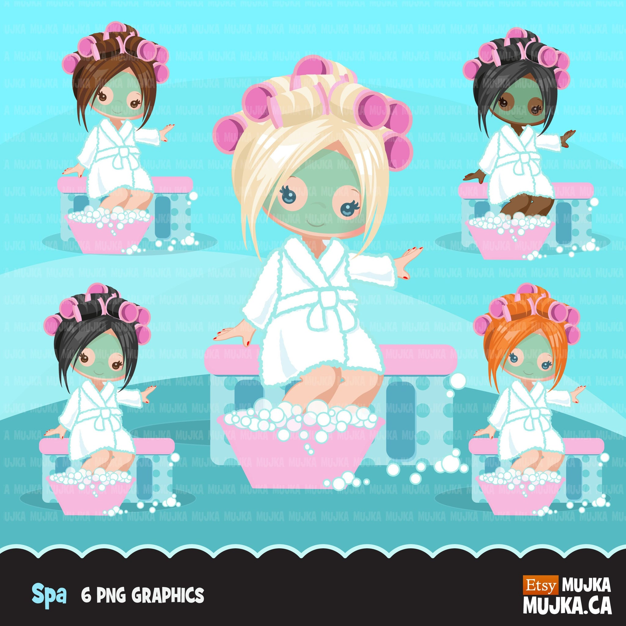 Spa party girl clipart with face mask graphics