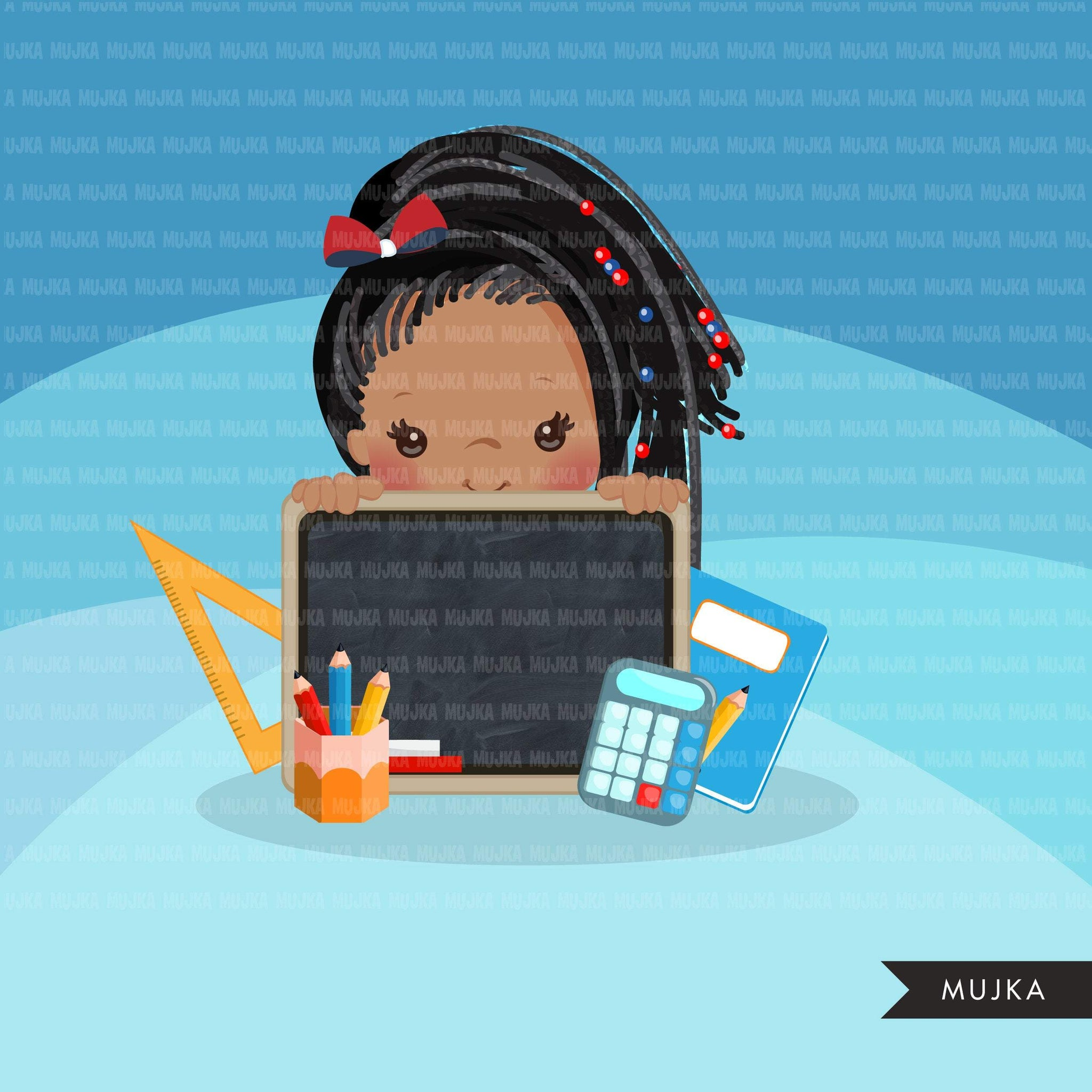 Back to school clipart peeking black students Afro Girl students black board, Education, teaching graphics, PRE-K, grade 1