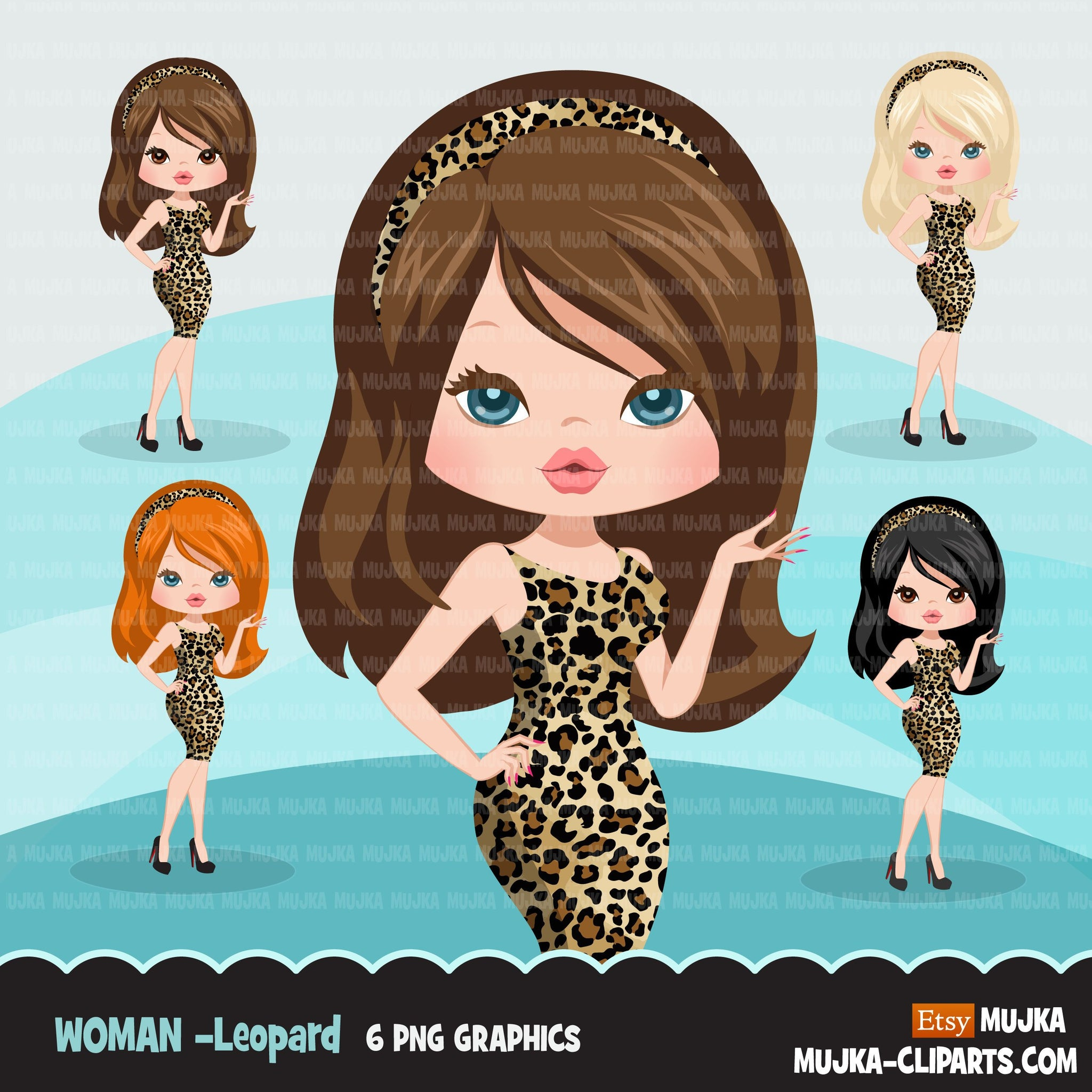Woman clipart with leopard print business avatar graphics, print and cut PNG T-Shirt Designs, Girls clip art