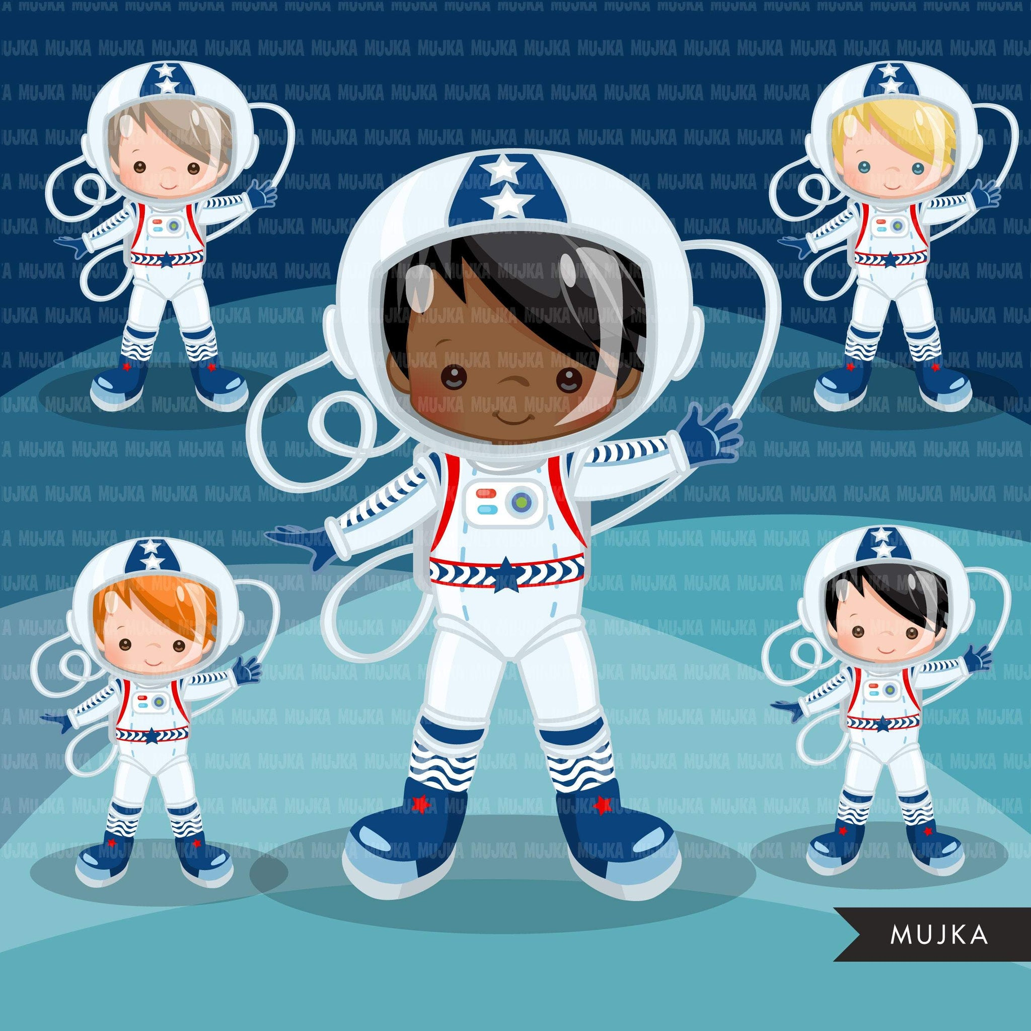 Space solar system clipart with boy and girl astronauts & cute planets
