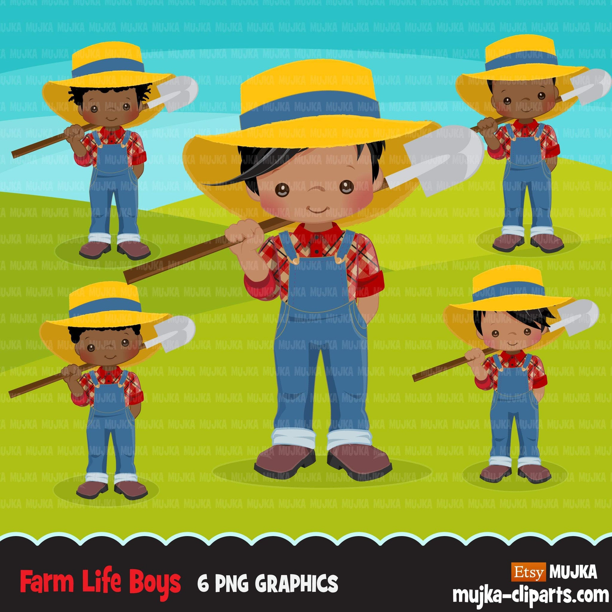 Afro black Farmer Boys clipart, farmer characters with shovel, farmer hat, country graphics, country boy with hat