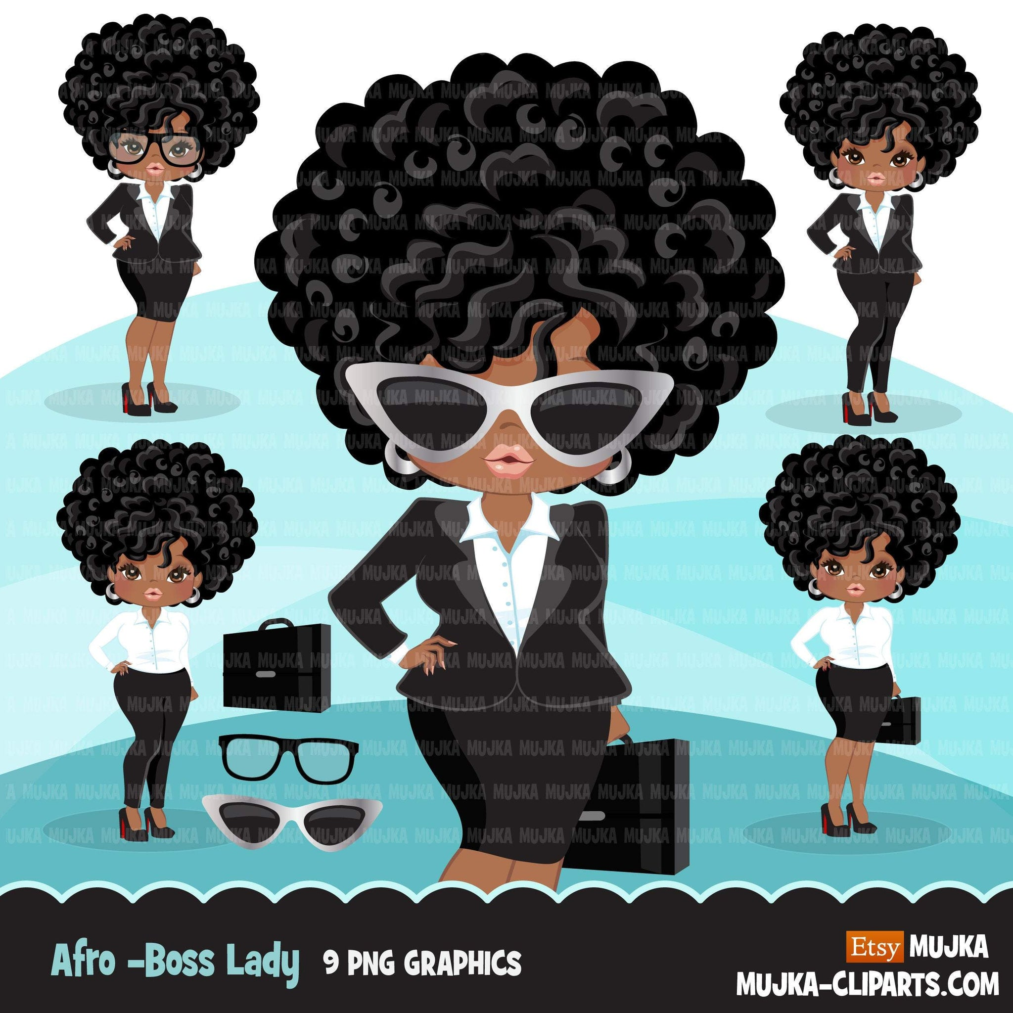 Afro Black Woman Clipart With Business Suit Briefcase And