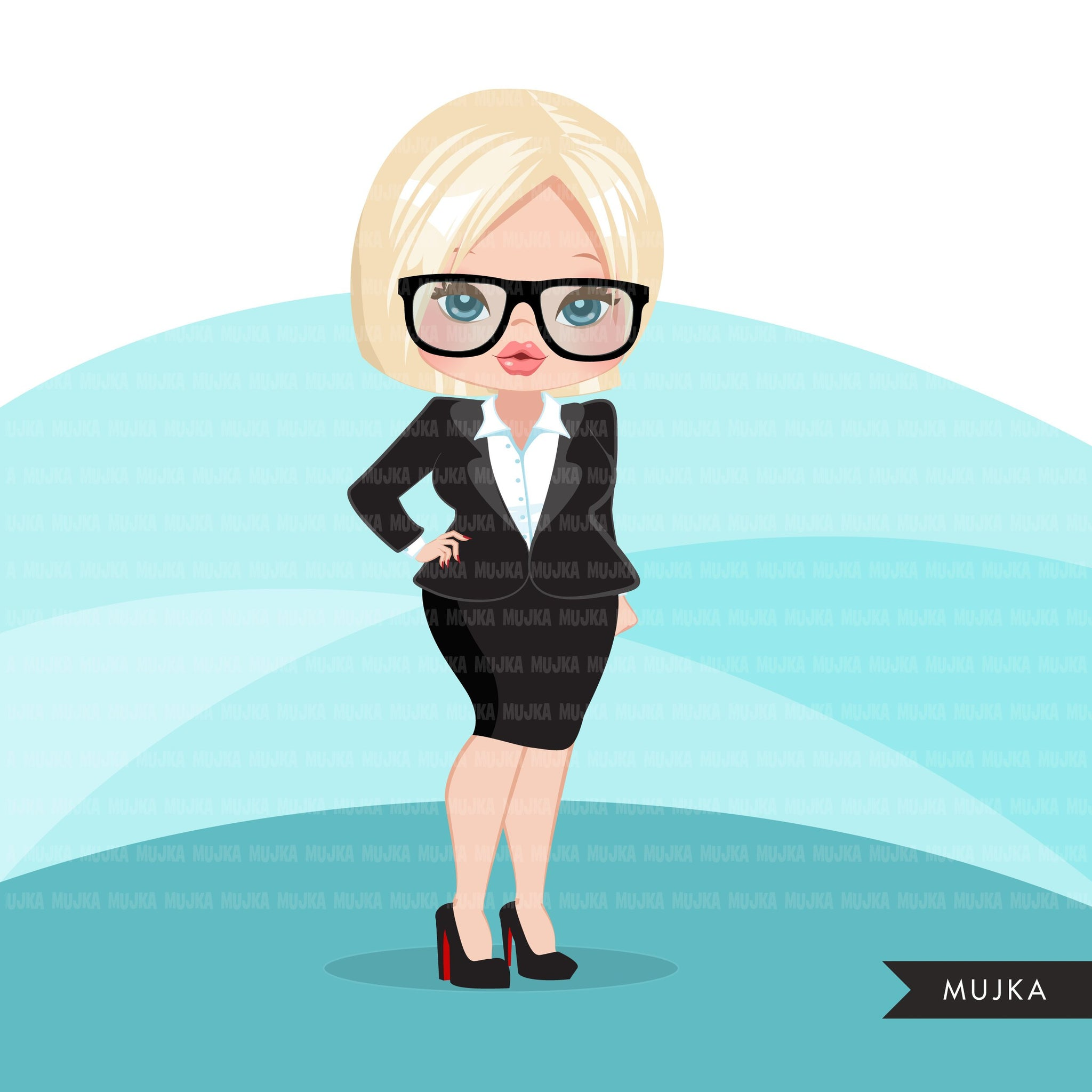 Blonde woman clipart with business suit, briefcase and glasses, girl boss