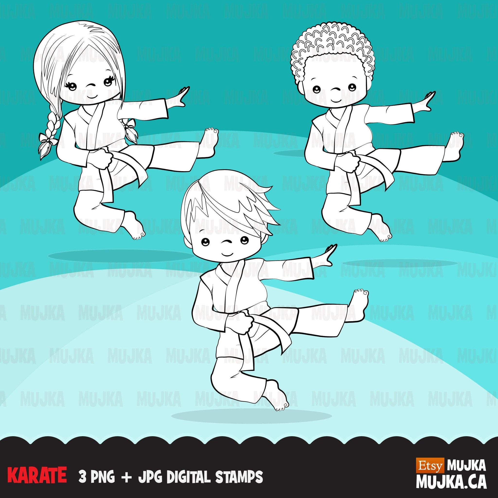 Karate Digital Stamps,  Sports graphics, martial arts line art graphics, boy girl
