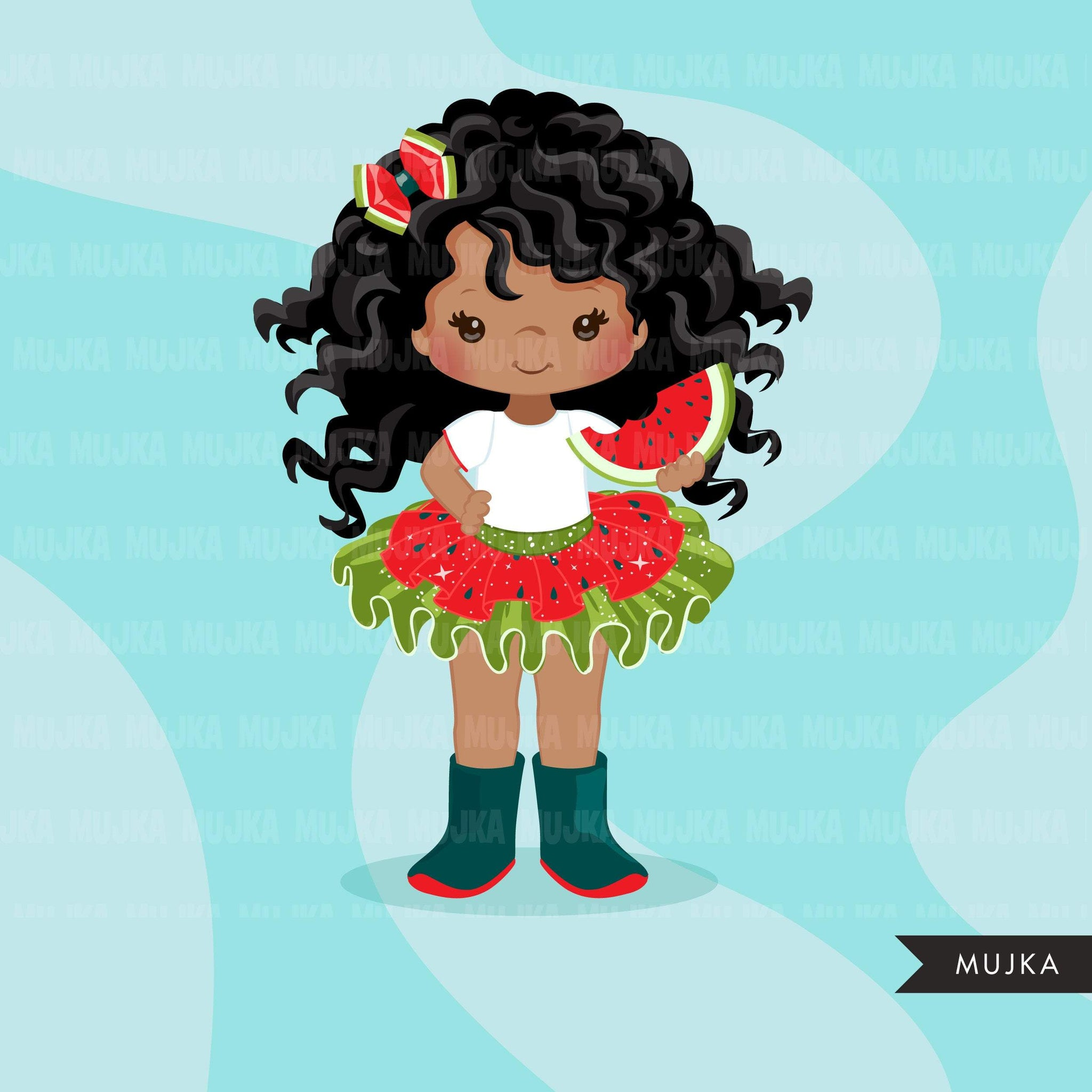 Watermelon Tutu Clipart. Little black girl summer outfits graphics. African American 4th of July