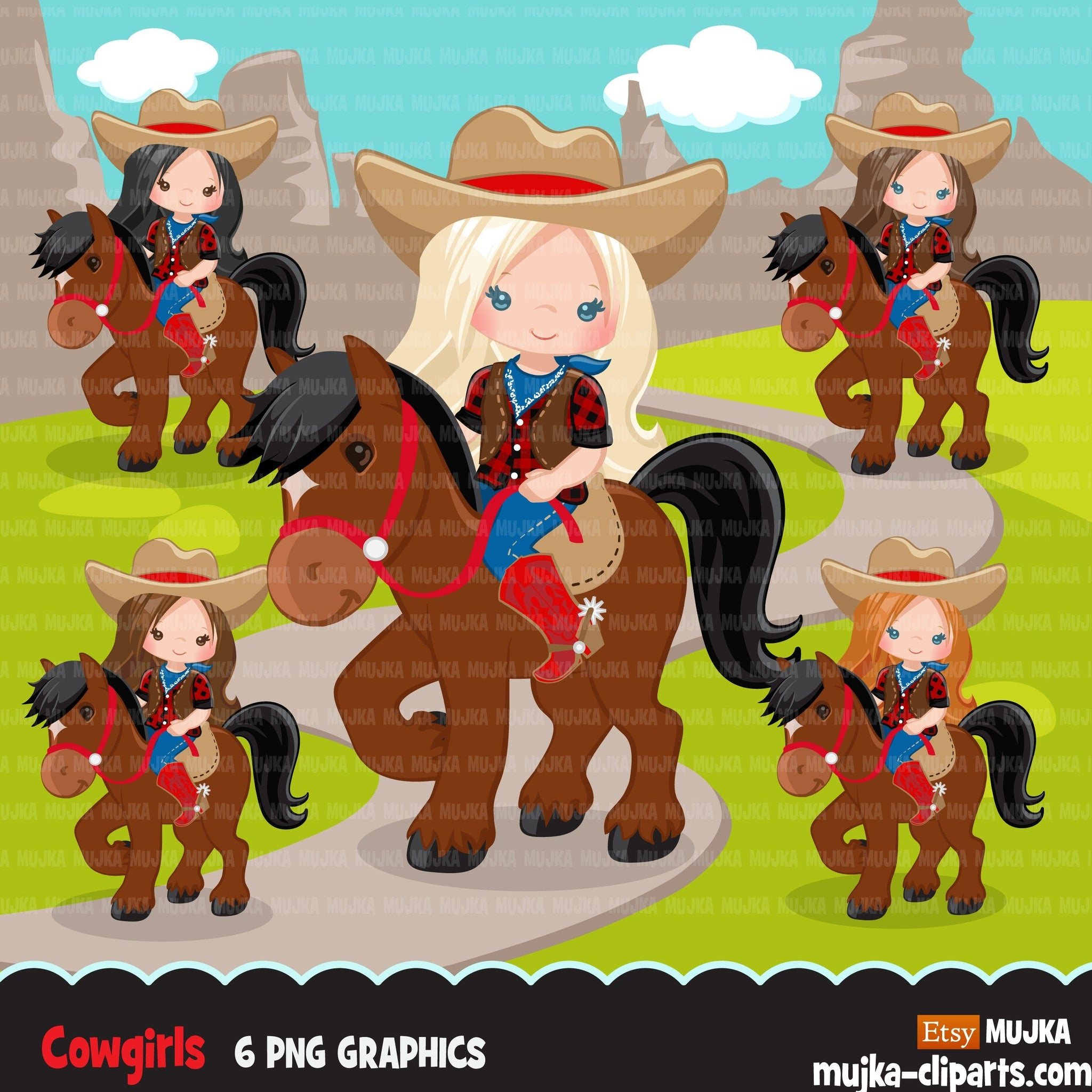 Cowgirl with horse clipart, farmer characters country farm graphics