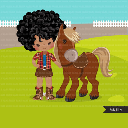 Afro Cowgirl with horse clipart, farmer characters country farm graphics, western wild west girl clip art