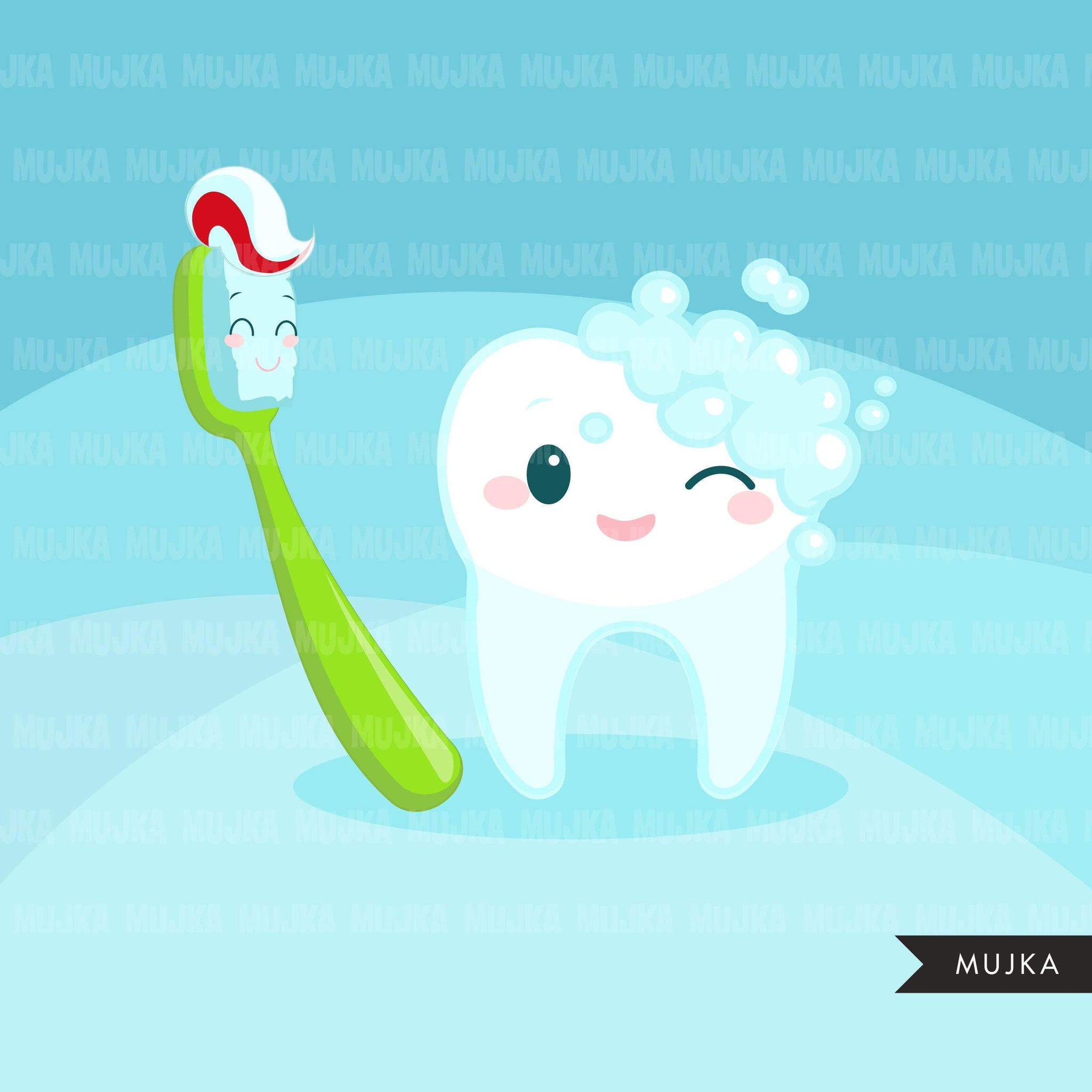Dental Clipart. Colorful Kawaii tooth, dentist tools