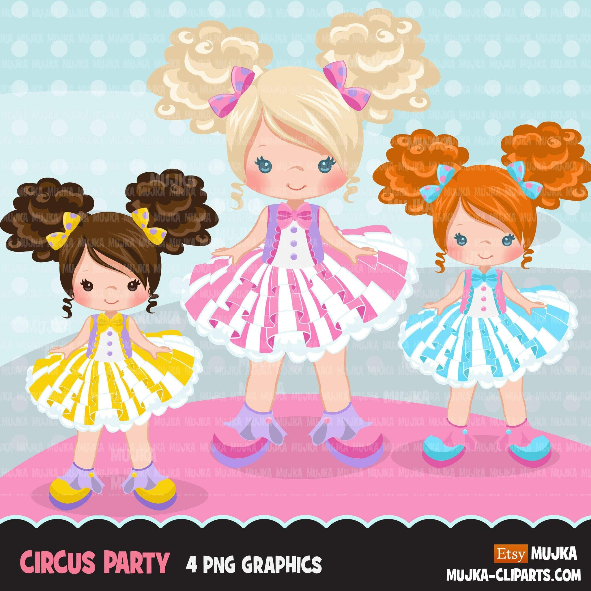 Circus Girls Clipart pastel Big top carnival graphics, tutu girls summer