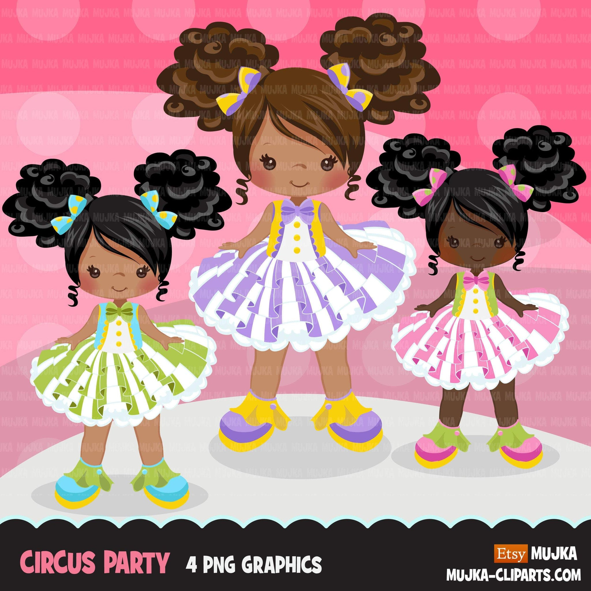 Afro puff Circus Girls Clipart pastel Big top carnival graphics, black tutu girls summer