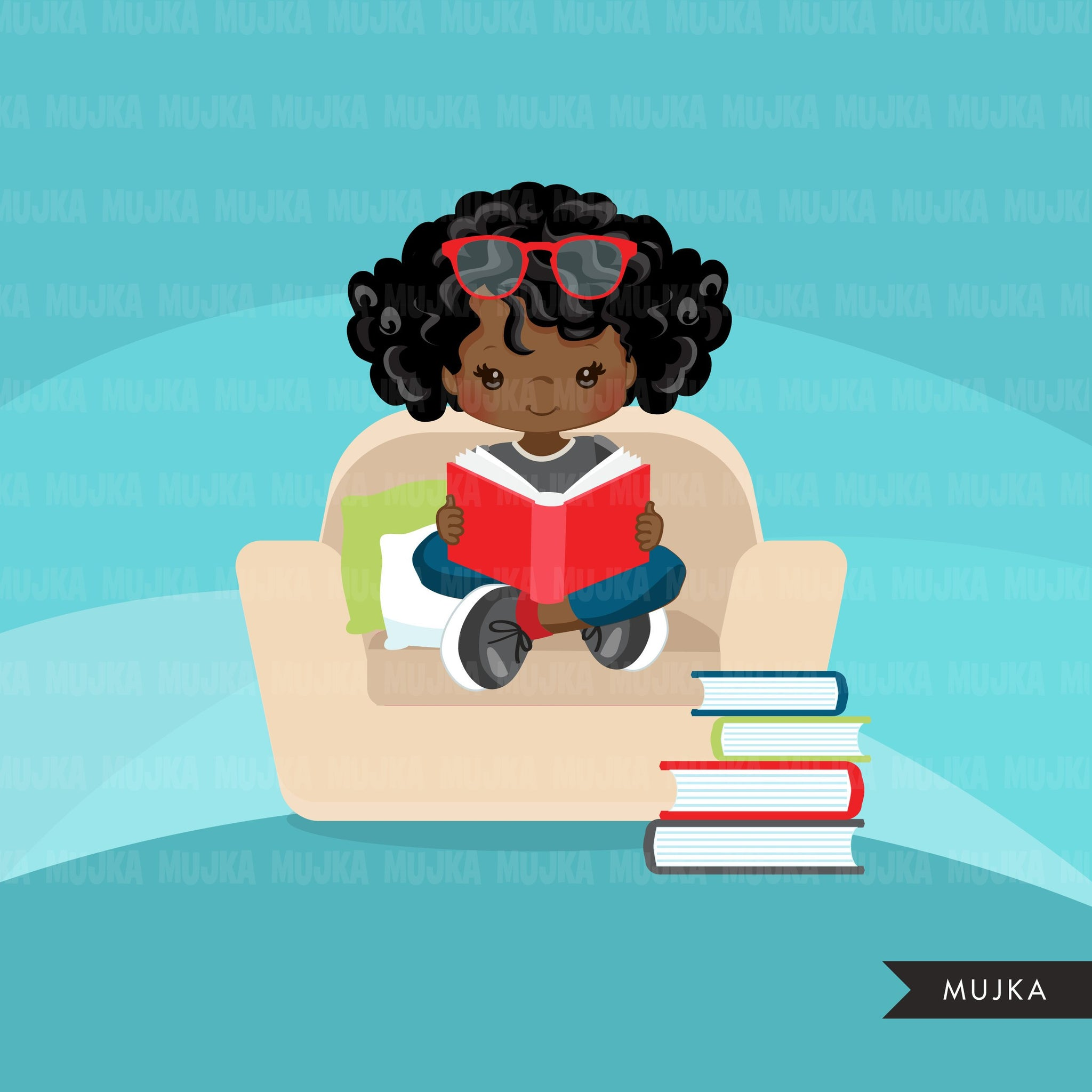 Reading clipart, school activity, homework, student black girl graphics