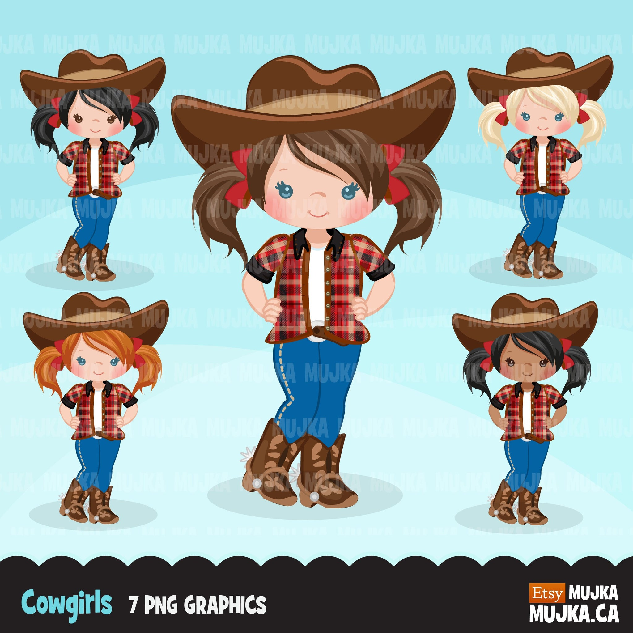 Cowgirls with pigtail clipart, farmer characters country farm graphics, western wild west girl clip art