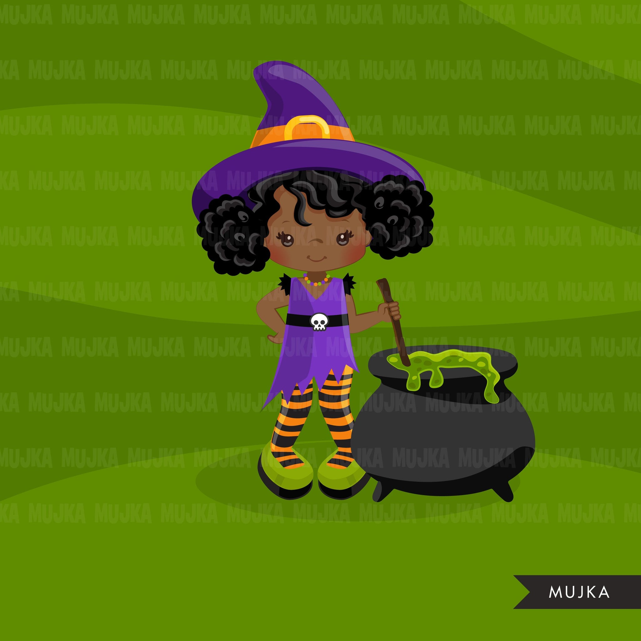Halloween witch black girls clipart. Afro Cute kids in witch costumes