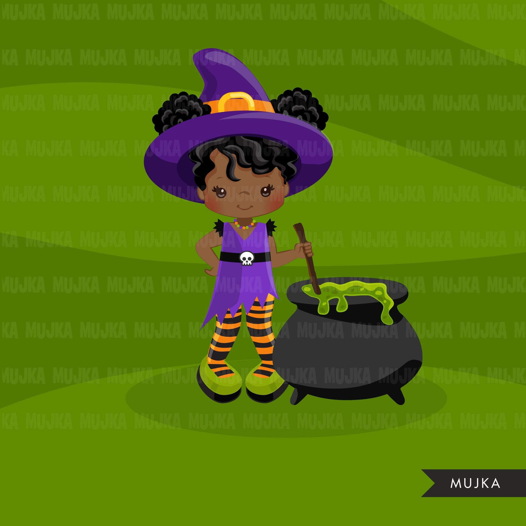 Halloween witch girls clipart. Afro Cute kids in witch costumes