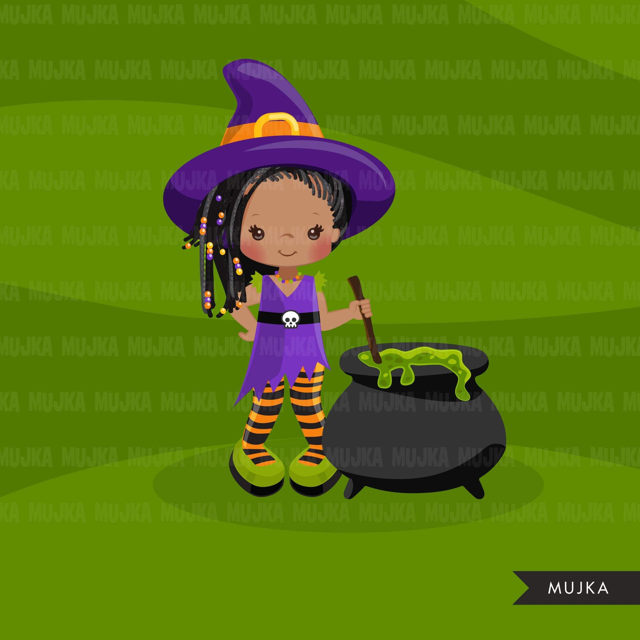 Halloween witch black girls clipart. Afro Cute kids in witch costumes 2