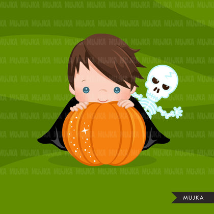 Halloween peek a boo peeking boys clipart.  Cute kids peeking on pumpkin