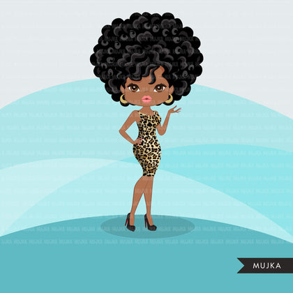 Afro woman clipart with leopard print African-American graphics, print and cut PNG T-Shirt Designs, Black Girls clip art