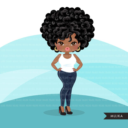Afro woman clipart with jeans and t-shirt African-American graphics, print and cut PNG T-Shirt Designs, Black Girls clip art