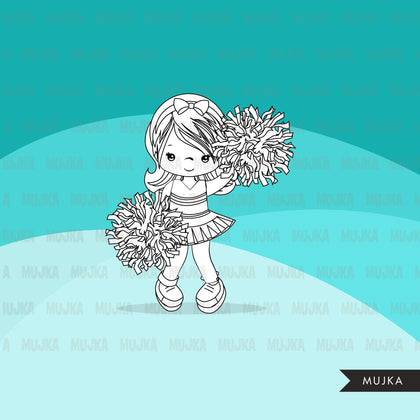Cheerleader Digital Stamps
