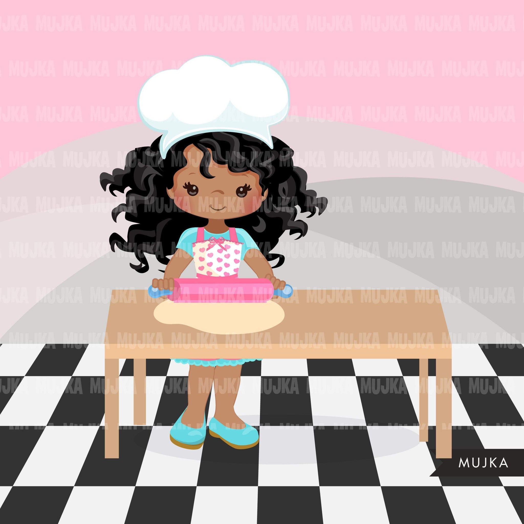 Baking Clipart, Cute afro baker characters, kitchen chores, baking party, cake, spatula, pastry chef, cookie graphics, baking fun clip art