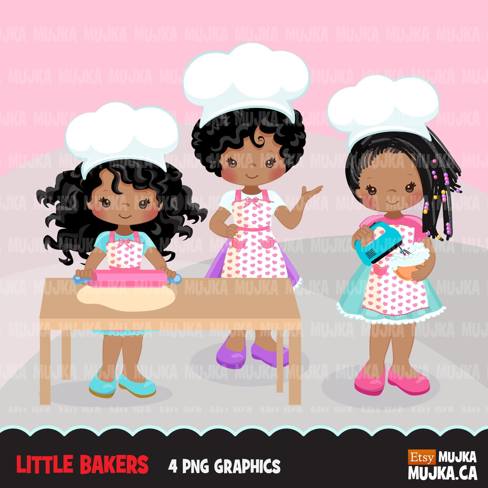 Baking Clipart, Cute black afro baker characters, kitchen chores, baking party, cake, spatula, pastry chef, cookie graphics, baking fun clip art
