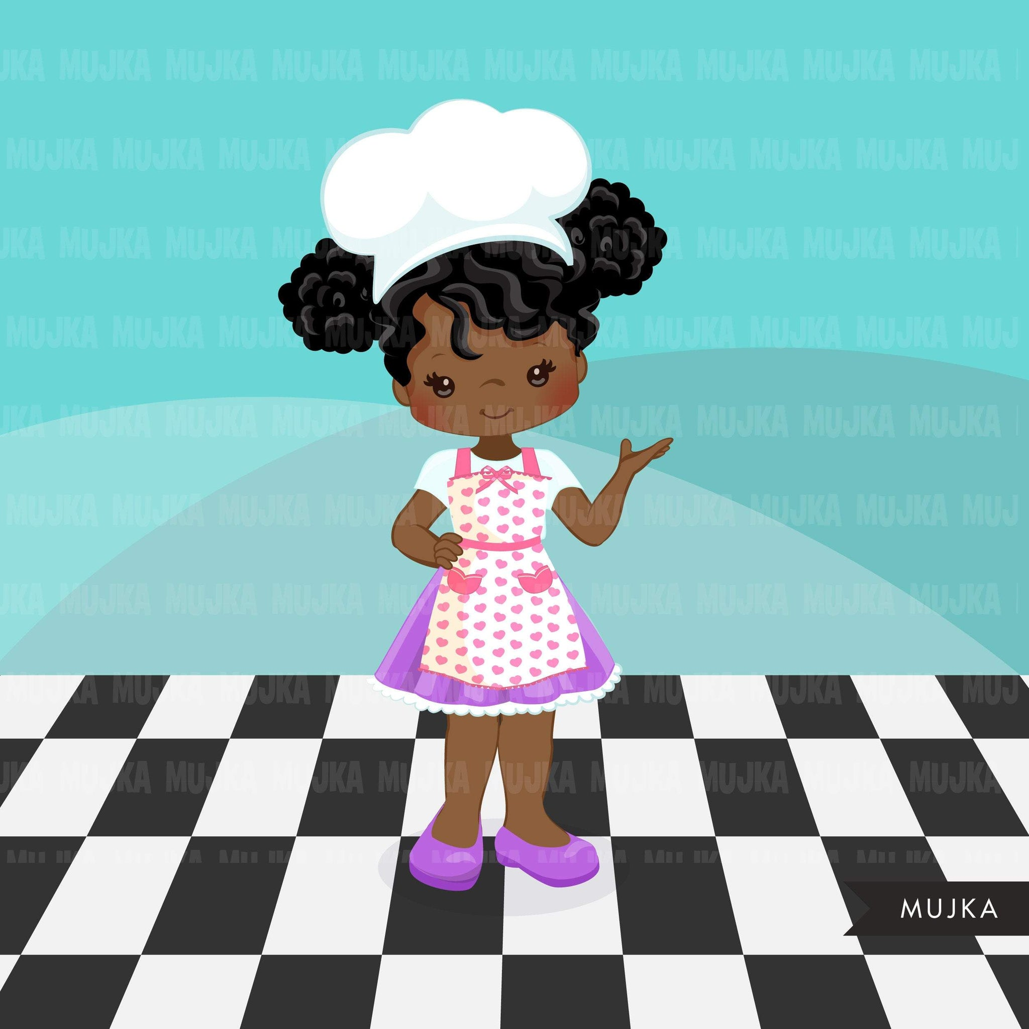Baking Clipart, Cute afro baker girl characters, kitchen chores, baking party, cake, spatula, pastry chef, cookie graphics, baking fun clip art