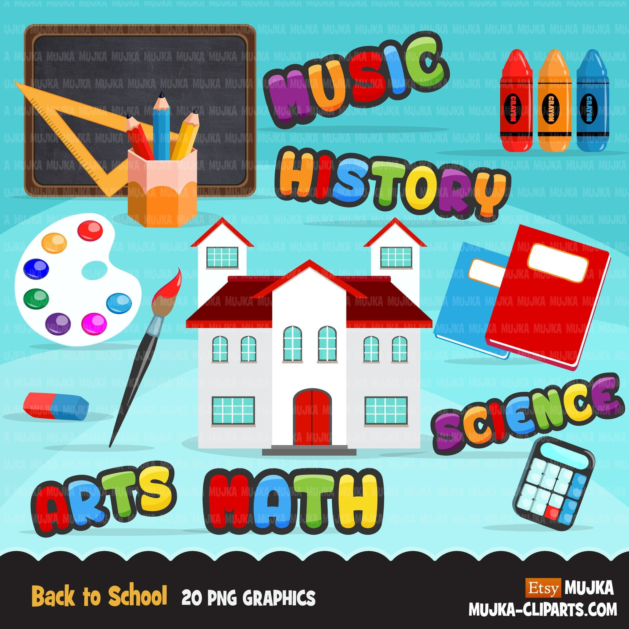 Back to school Clipart, Science, History, math, arts, music, black board, school supplies, apple, school graphics